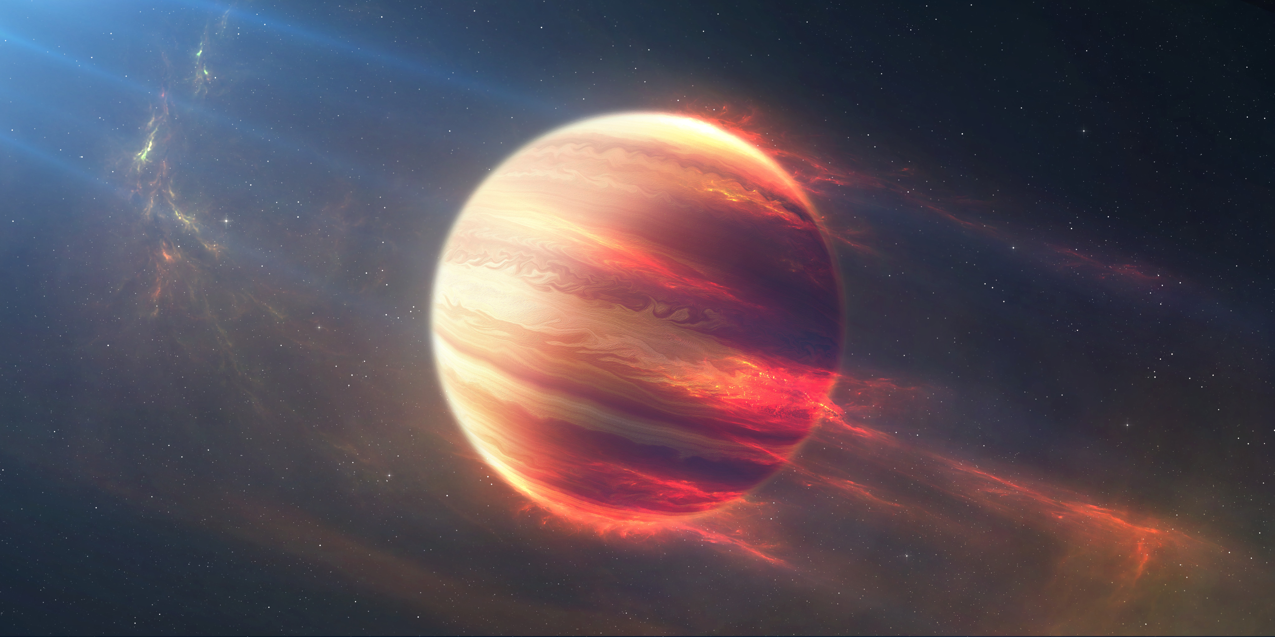 General 4096x2048 planet space Jupiter stars digital art space art