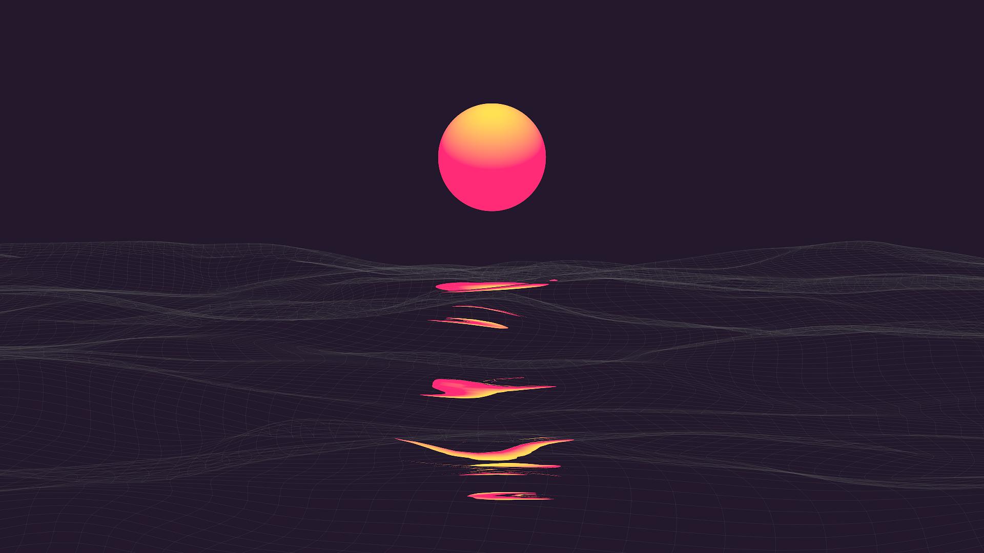 General 1920x1080 landscape abstract vaporwave purple background retrowave Retrowave sunrise sea clear sky sky pink digital art