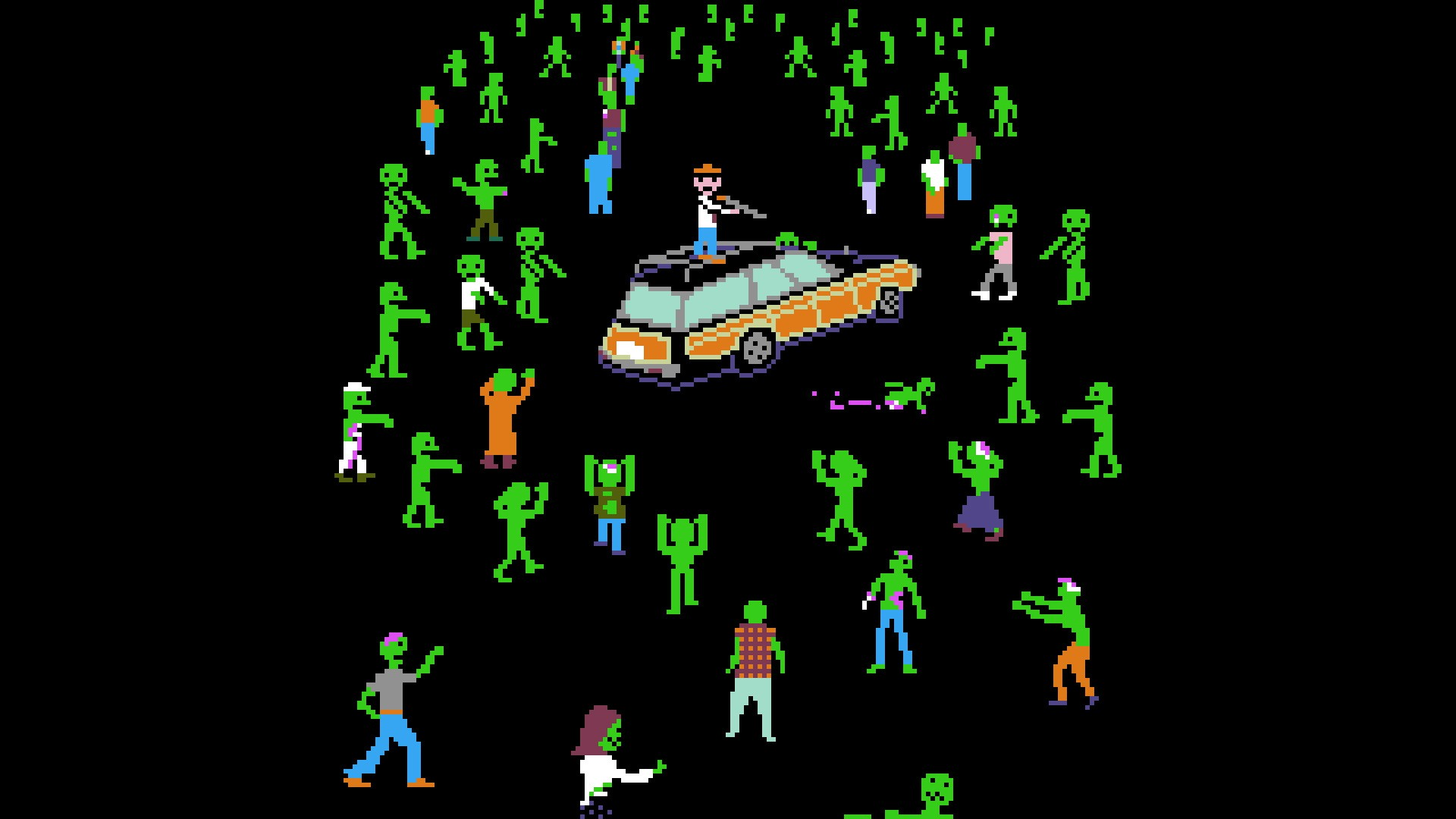 General 1920x1080 black background digital art minimalism zombies video games retro games pixels gun men car Killer green Shaun of the Dead