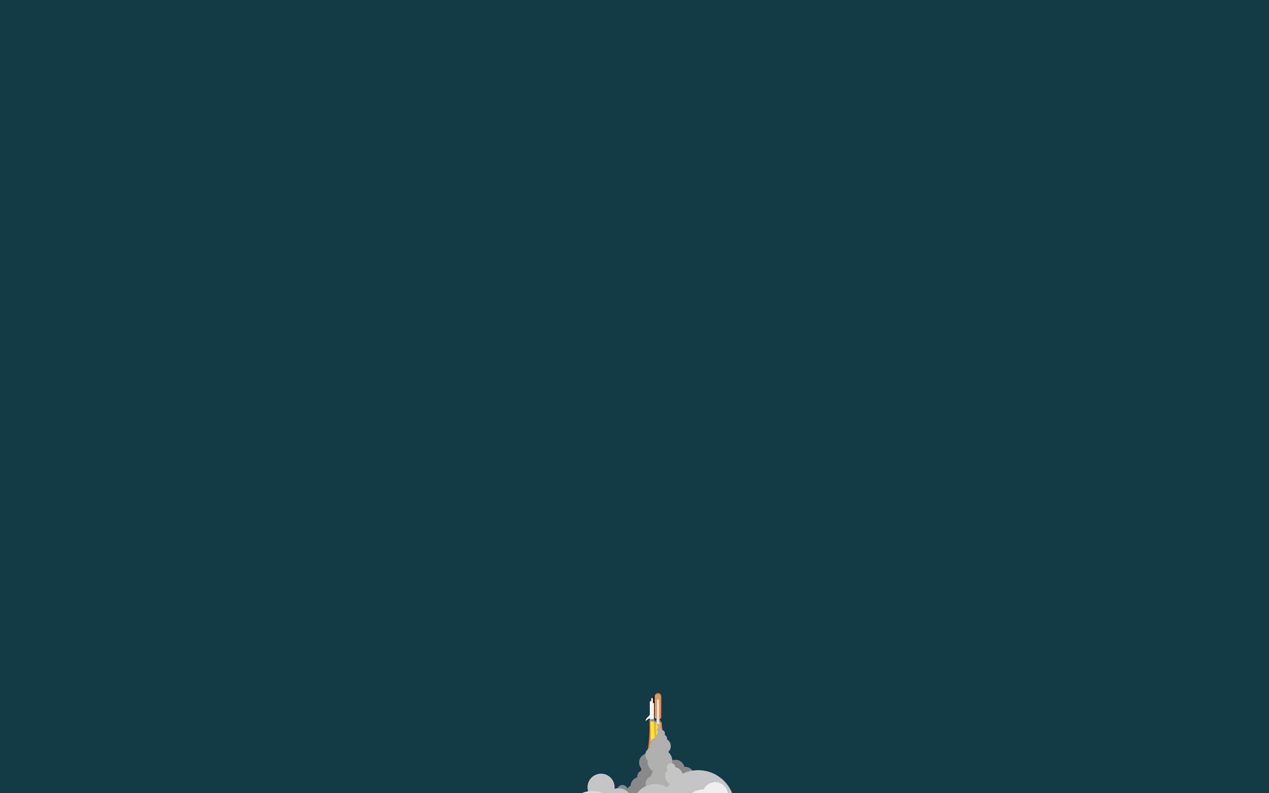 General 2560x1600 space minimalism space shuttle Launch green background rocket