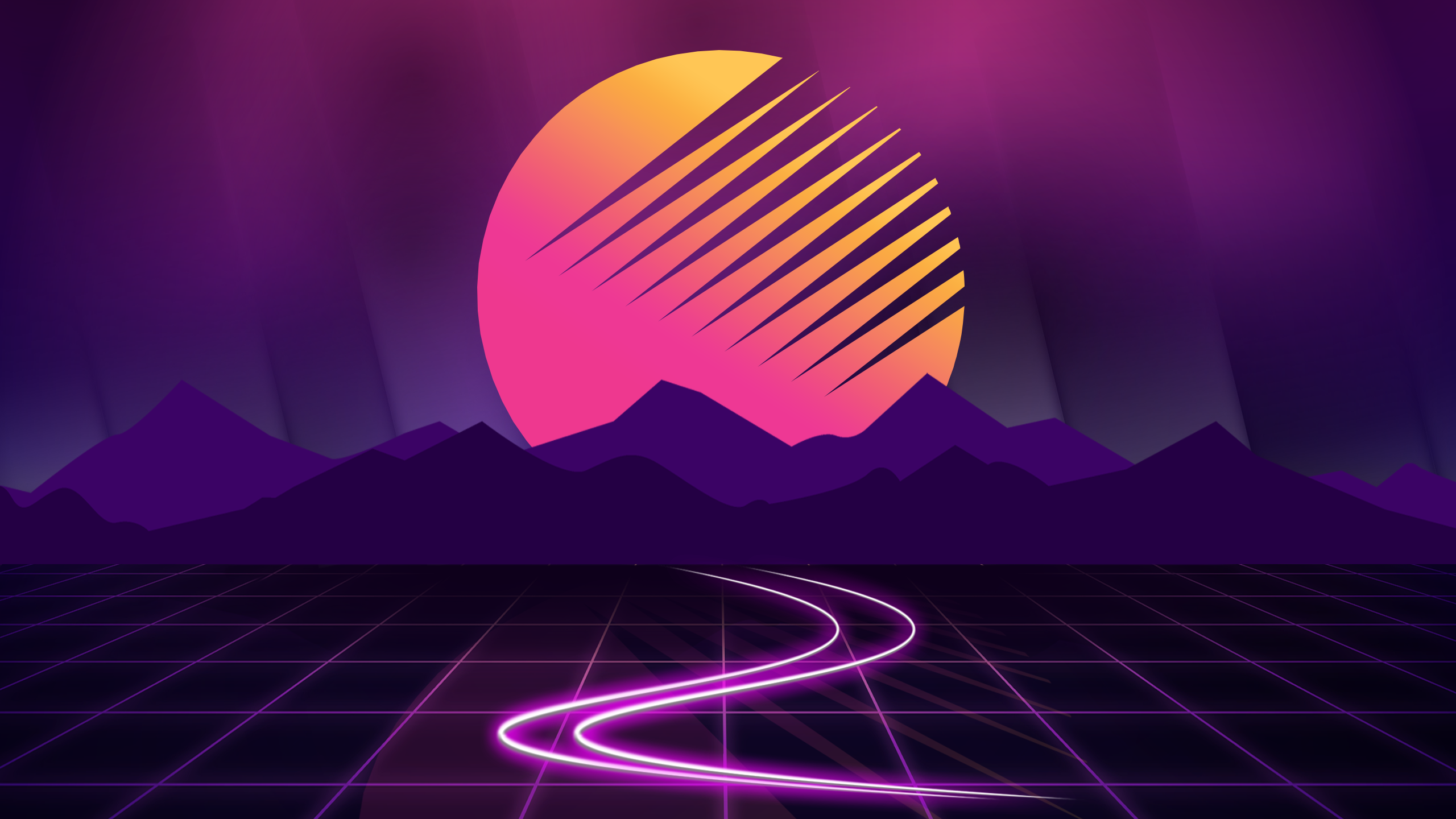 General 2560x1440 Retrowave retrowave vaporwave purple dark background