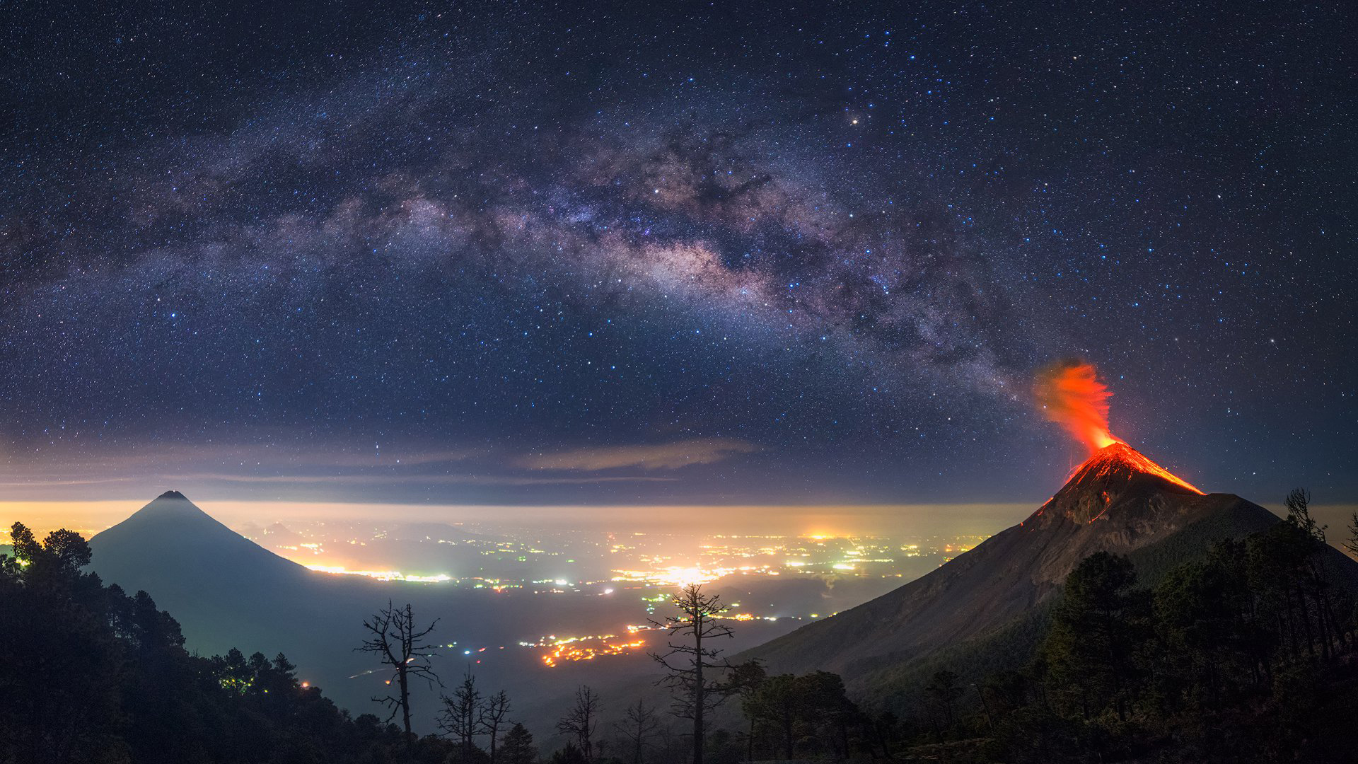 General 1920x1080 nature landscape trees forest Guatemala volcano eruption mountains Milky Way cityscape starry night long exposure lights horizon lava night