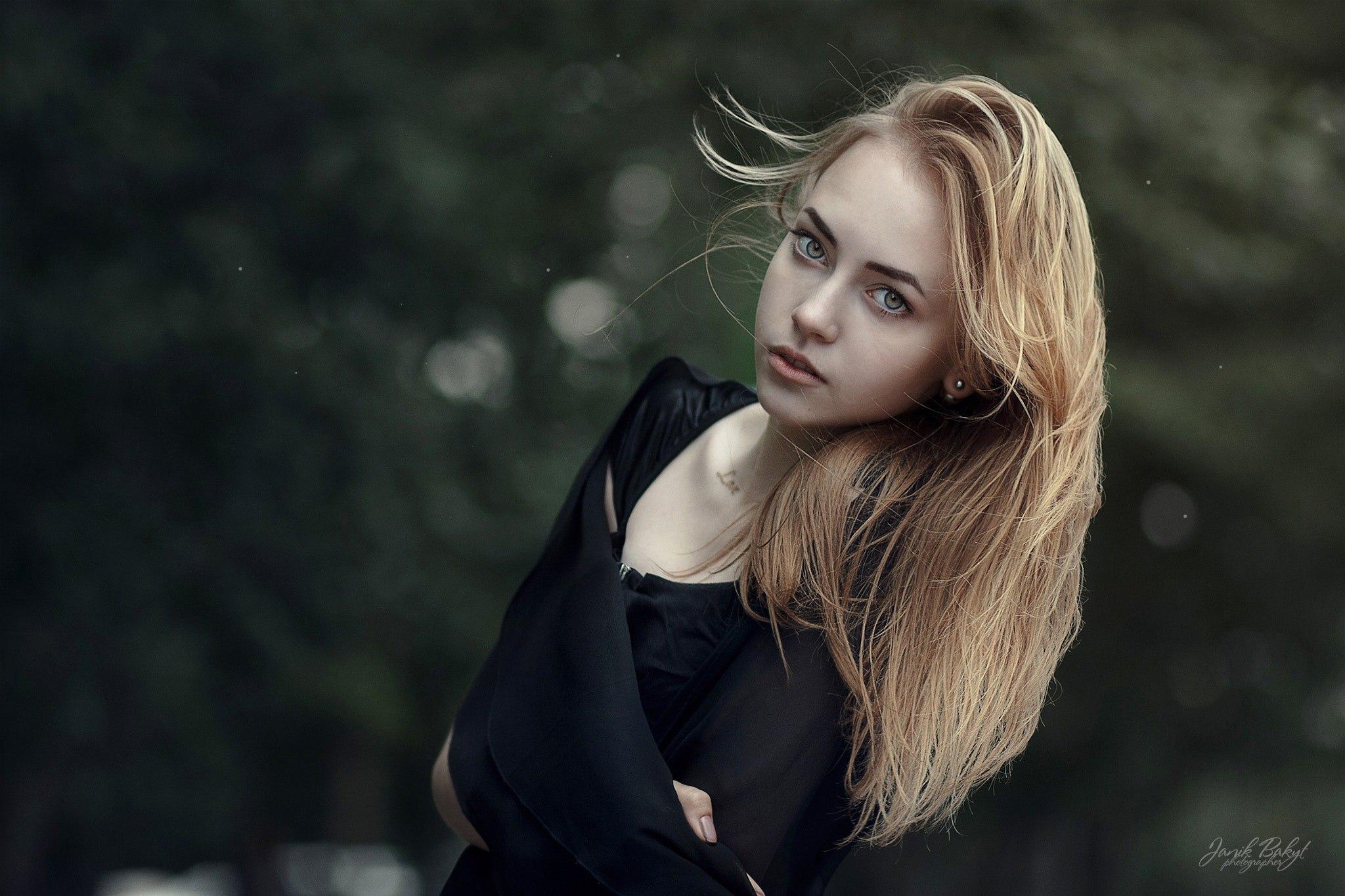 People 2048x1365 women blonde face black clothing portrait women outdoors bokeh pale green eyes Janik Bakyt