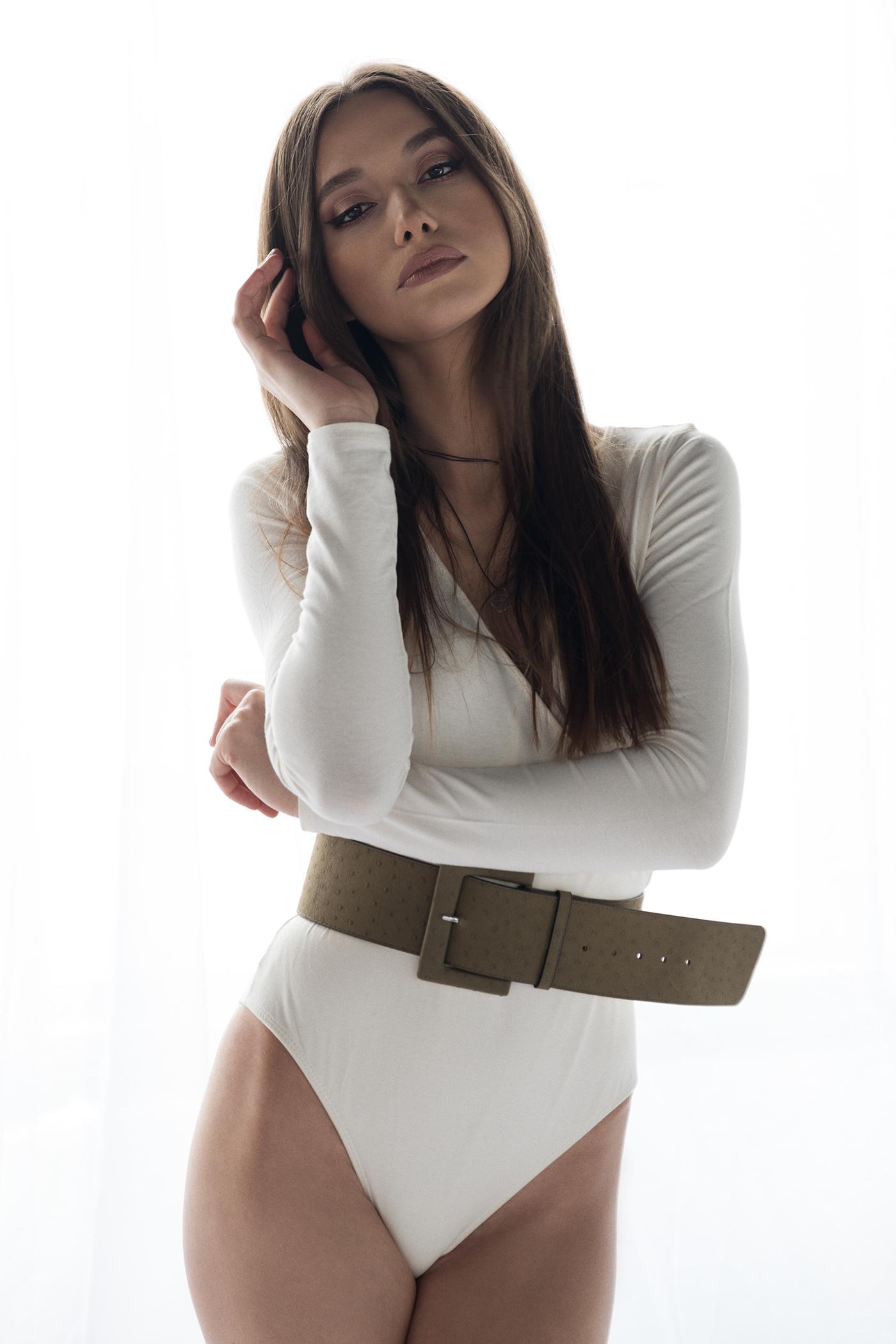 People 1400x2100 Carla Truica Bogdan Moldovan Behance brunette sensual gaze white dress women