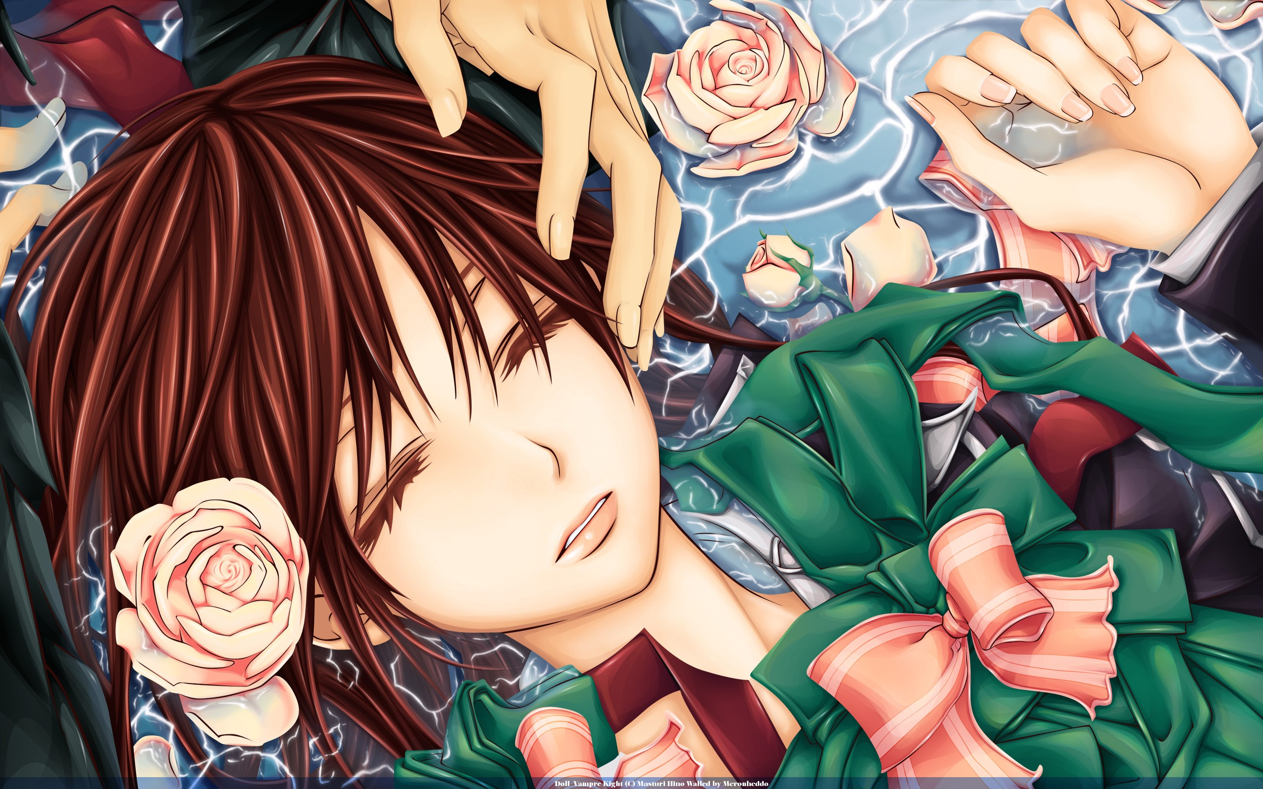 Anime 2560x1600 Vampire Knight anime flowers closed eyes