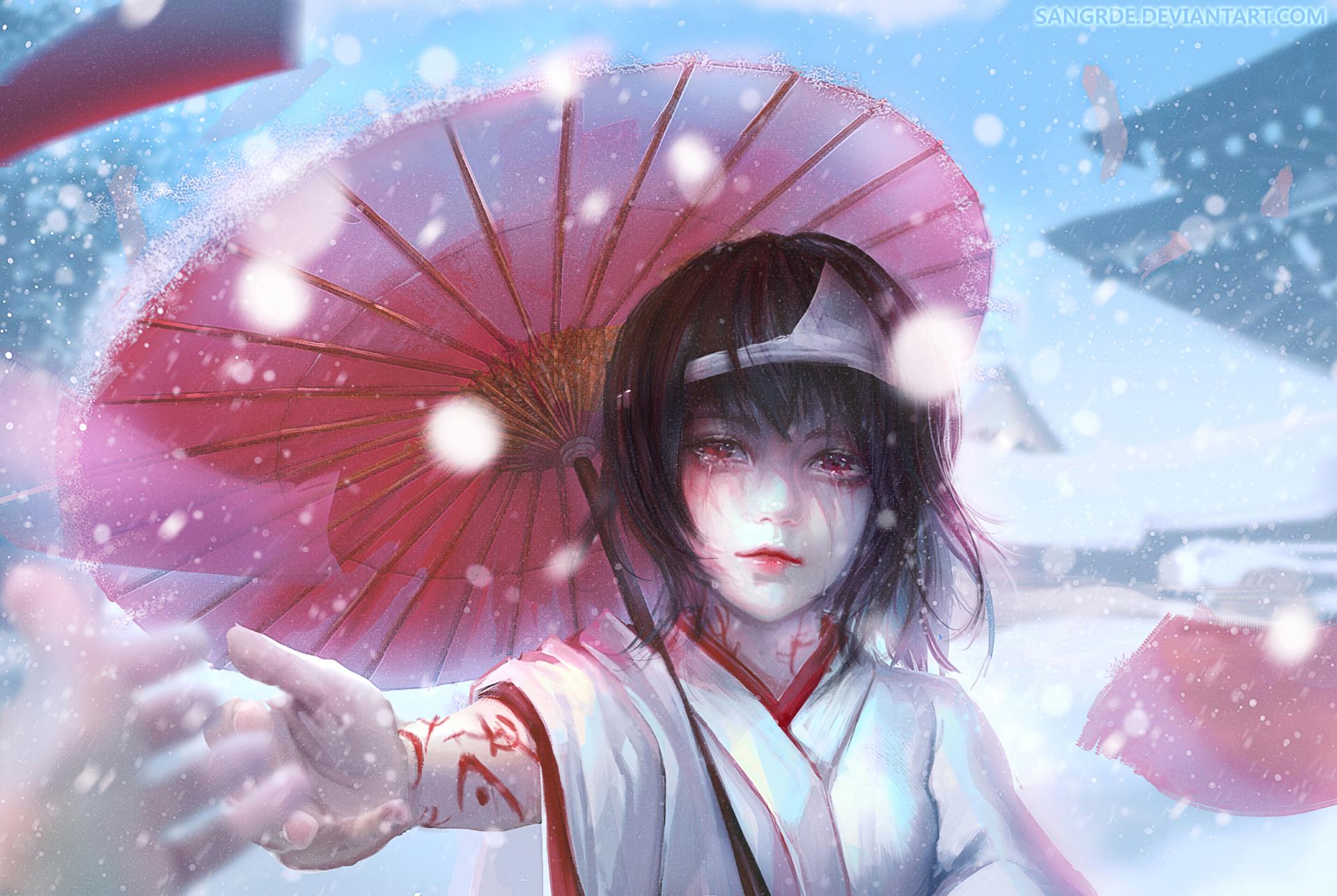 Anime 1920x1287 Noragami anime girls Nora (Noragami) umbrella anime hands snow winter DeviantArt