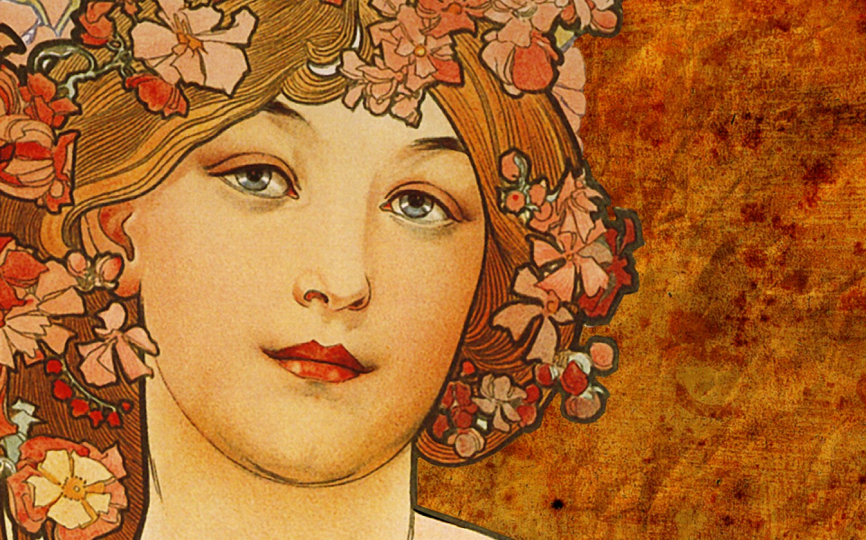 General 1440x900 Traditional Artwork women Alphonse Mucha face