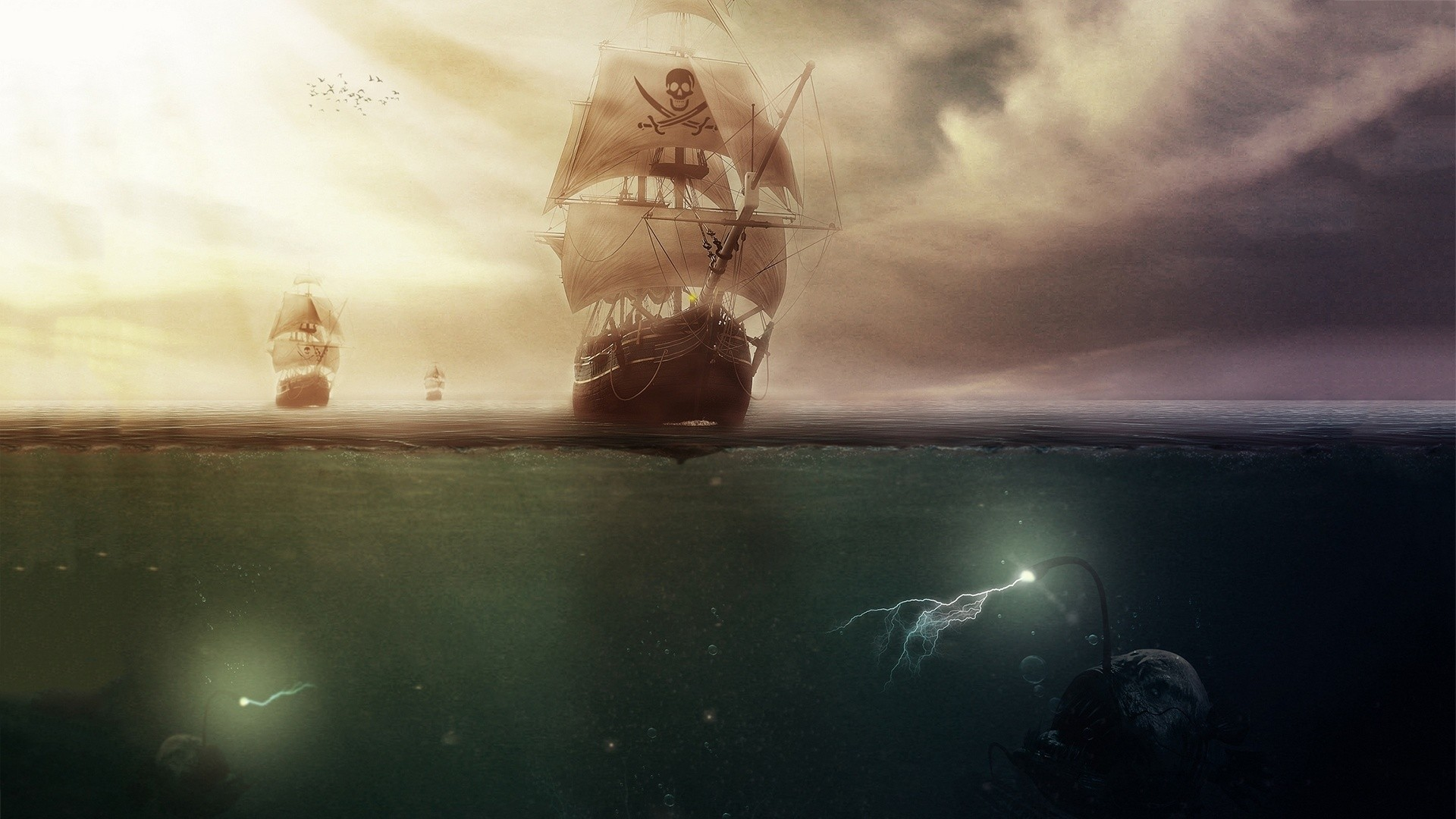 General 1920x1080 artwork sailing ship sea clouds pirates Anglerfish lightning underwater bubbles fantasy art sun rays sea monsters horizon skull