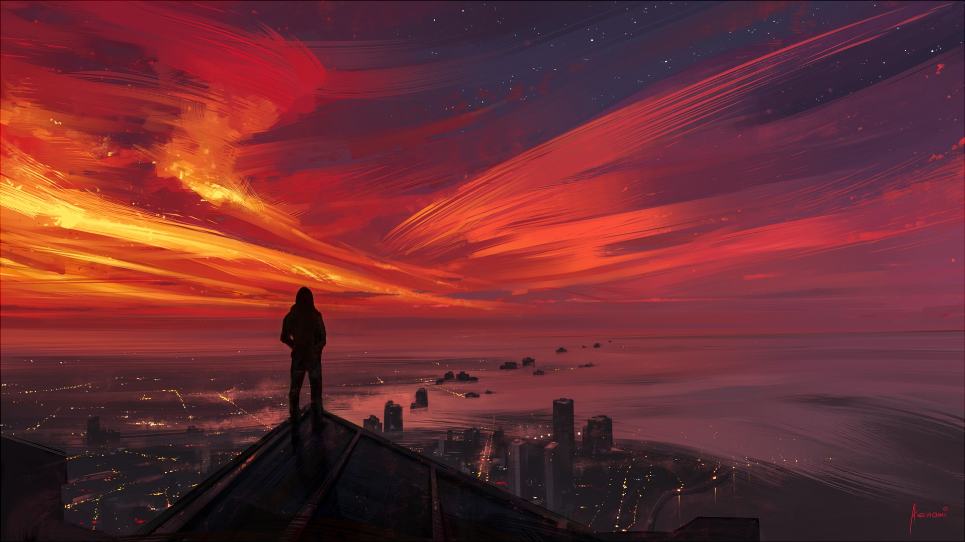General 1920x1080 looking into the distance cityscape painting sunset sky dark sunlight horizon Aenami