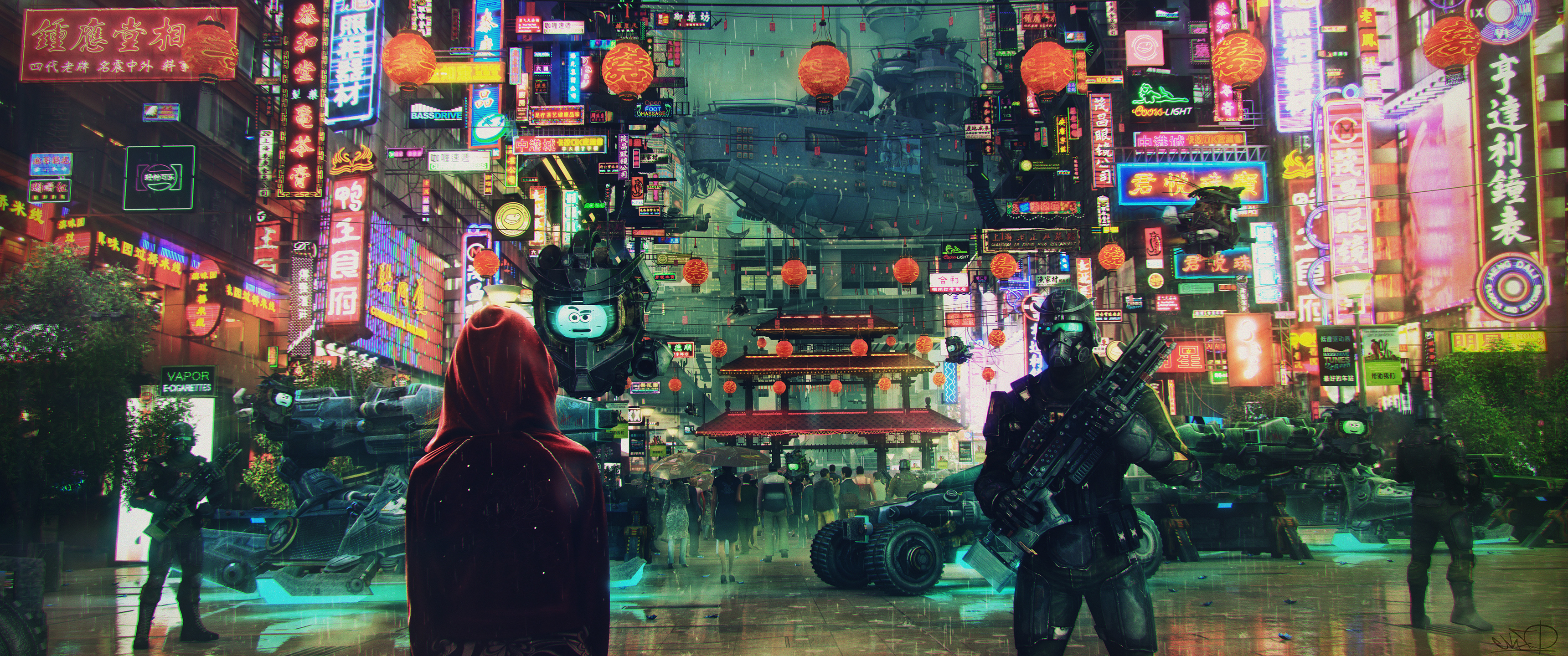 General 3440x1440 science fiction cyberpunk cityscape soldier Asian architecture neon lights ultrawide