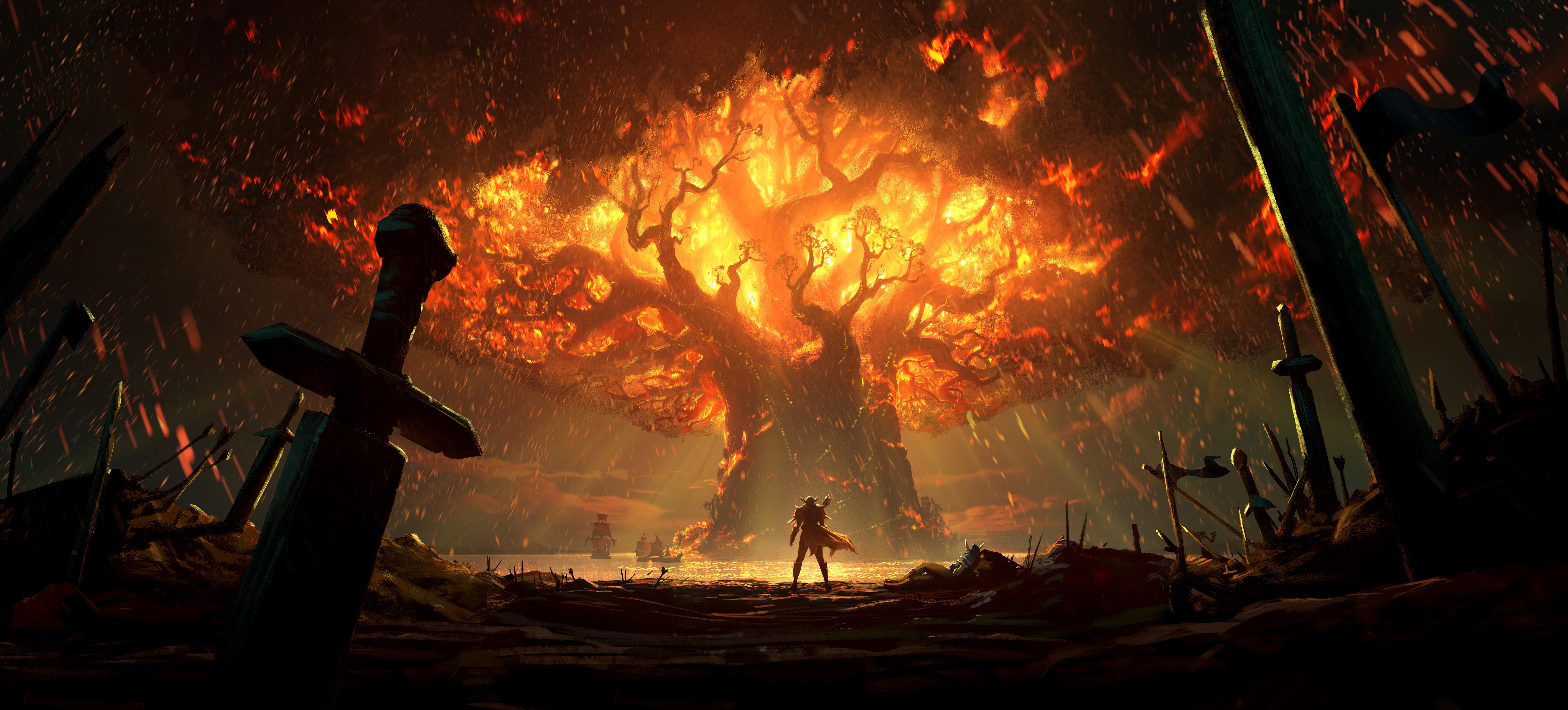 General 10000x4526 video games Warcraft Alliance Teldrassil fire sword trees World of Warcraft elven horde sailing ship digital art artwork landscape battle Blizzard Entertainment fantasy art DubstepGutter