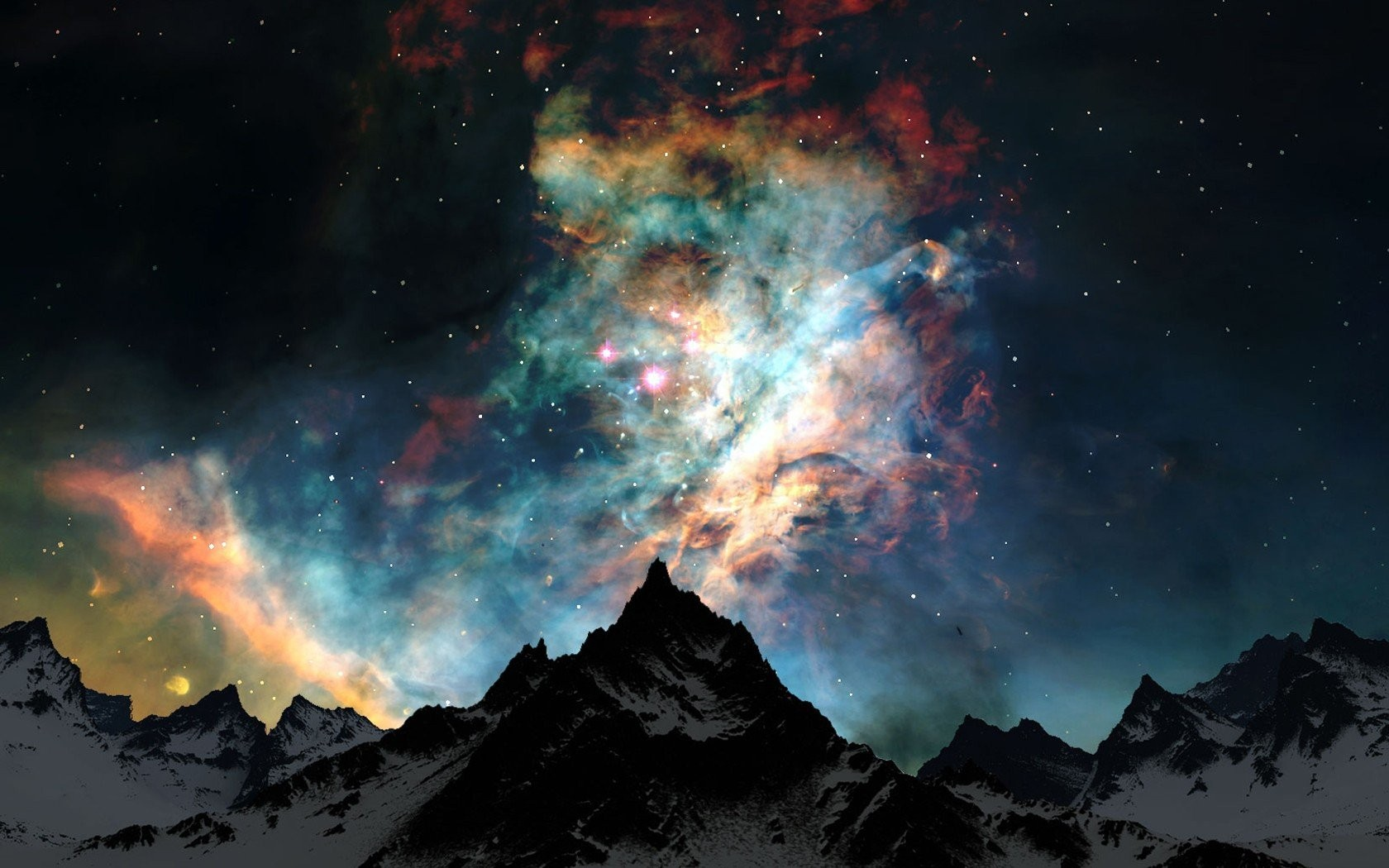 General 1680x1050 space stars nebula galaxy mountains snowy peak space art Earth atmosphere clouds