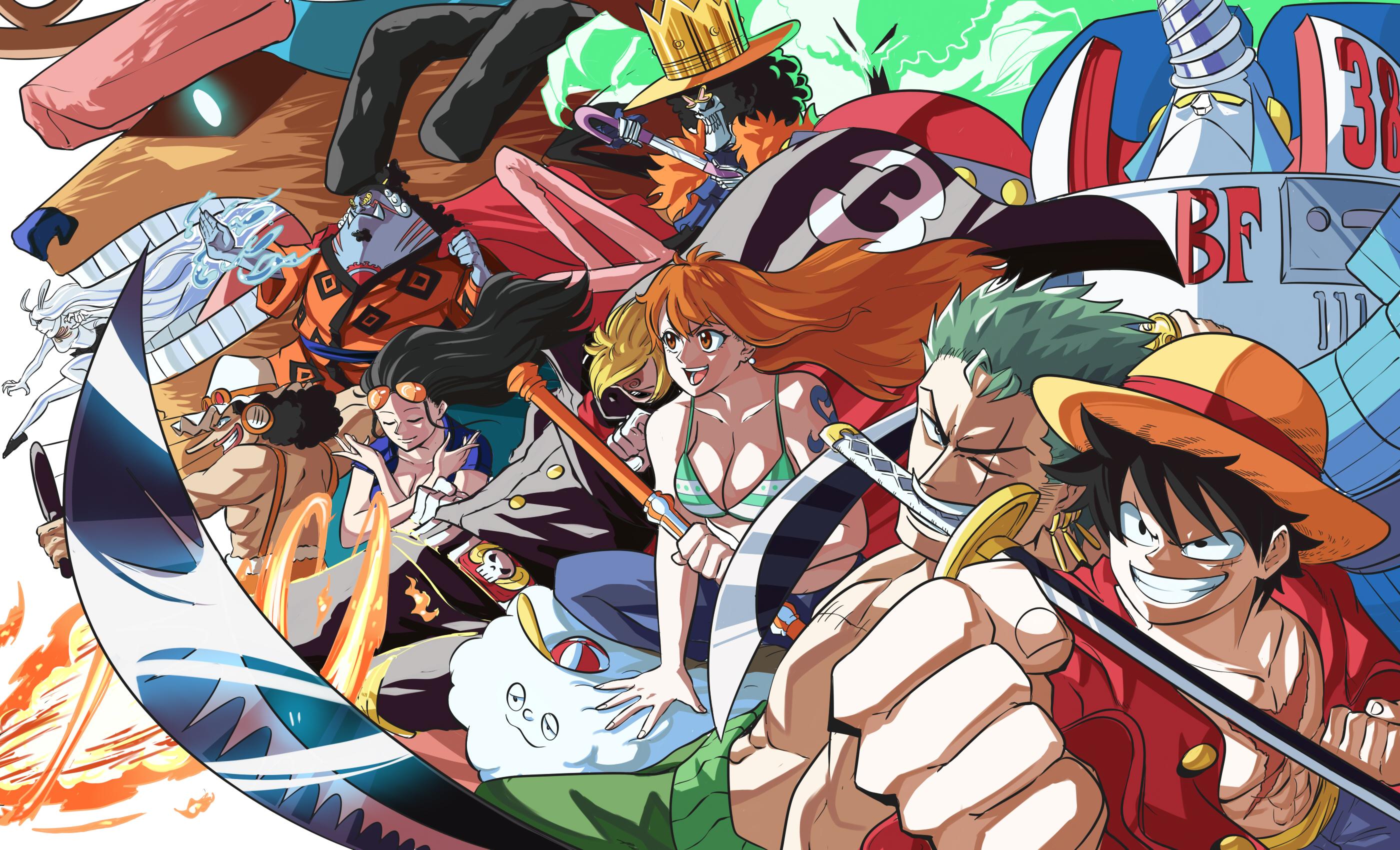 Anime 2800x1700 anime Monkey D. Luffy Nami Sanji Roronoa Zoro One Piece Tony Tony Chopper Nico Robin Jimbei Franky Brook Usopp carrot
