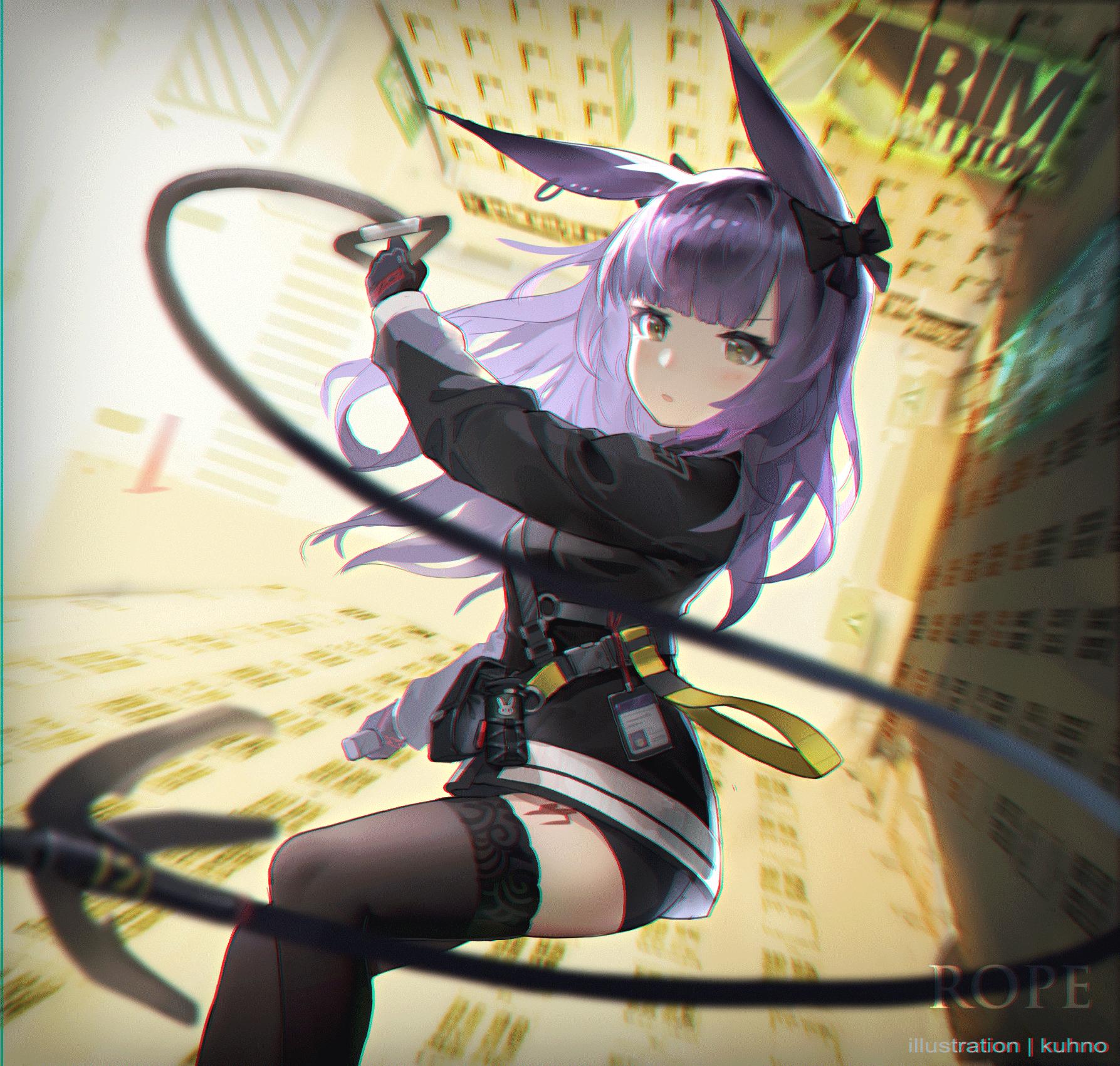 Anime 1787x1701 Kuhnowushi anime girls portrait display anime Arknights Rope (Arknights) animal ears purple hair black stockings
