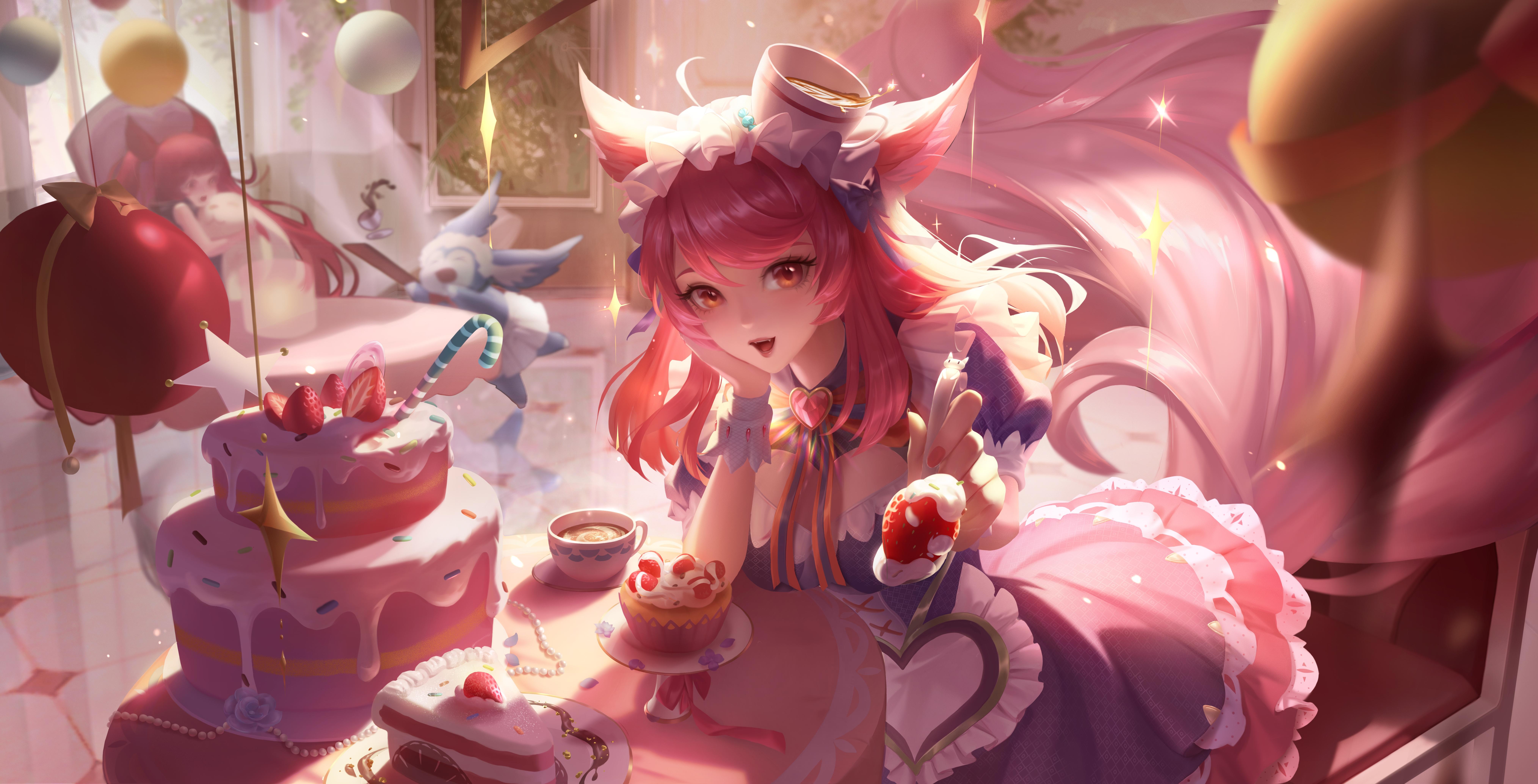 Anime 8114x4138 Honor of Kings Da Ji(Honor of Kings) maid coffee cake anime girls 3Q Studio animal ears tail redhead brown eyes