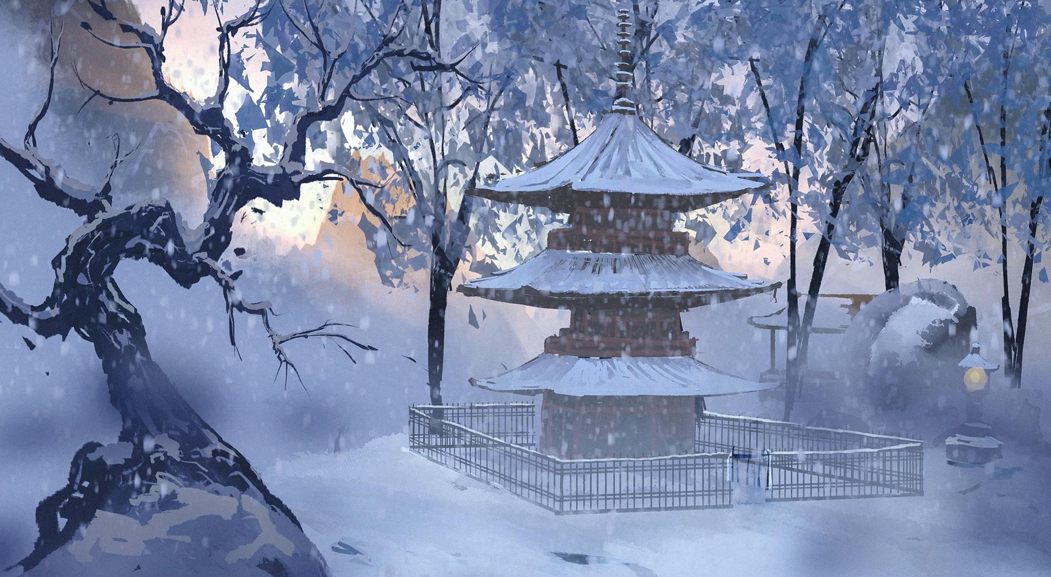 Anime 2048x1125 anime temple winter snow Surendra Rajawat