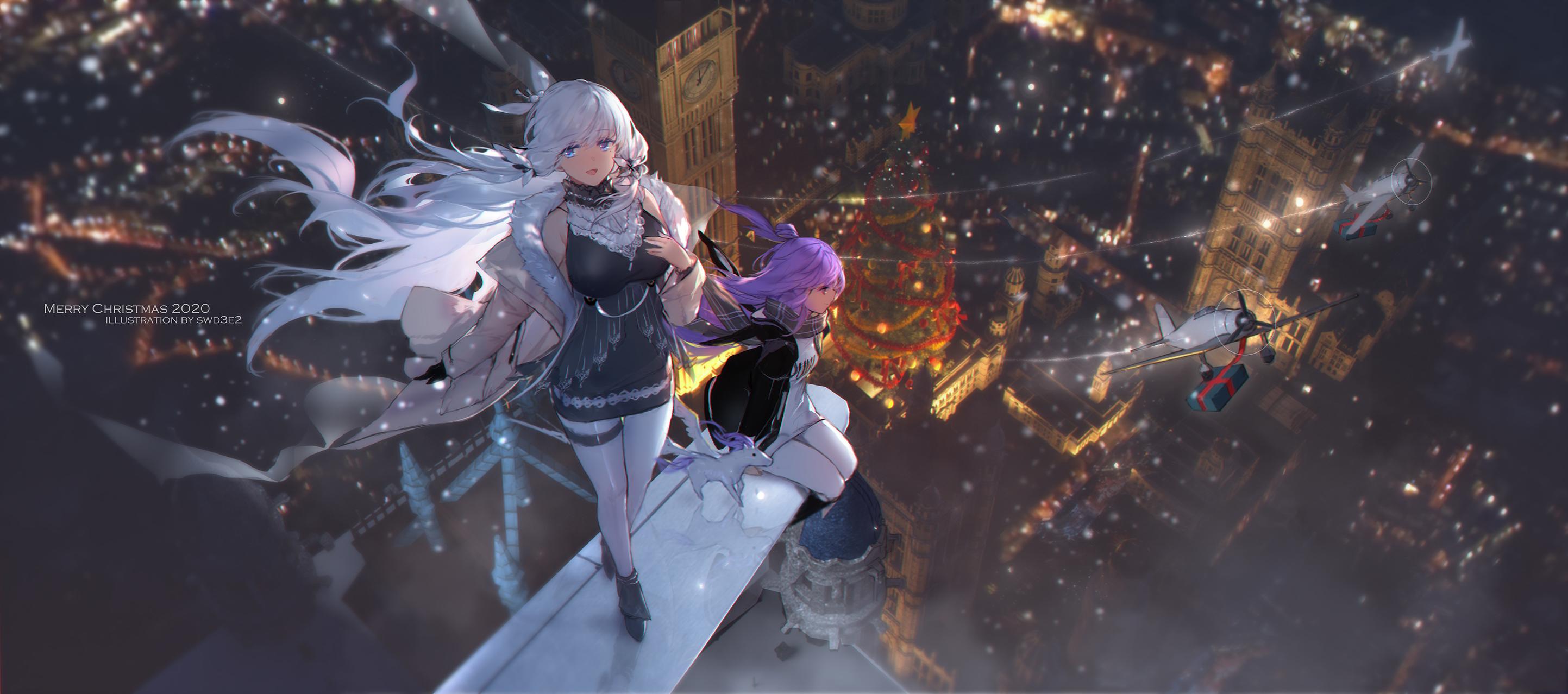 Anime 2886x1278 Azur Lane Illustrious (Azur Lane) Unicorn (Azur Lane) anime girls swd3e2 Christmas cityscape