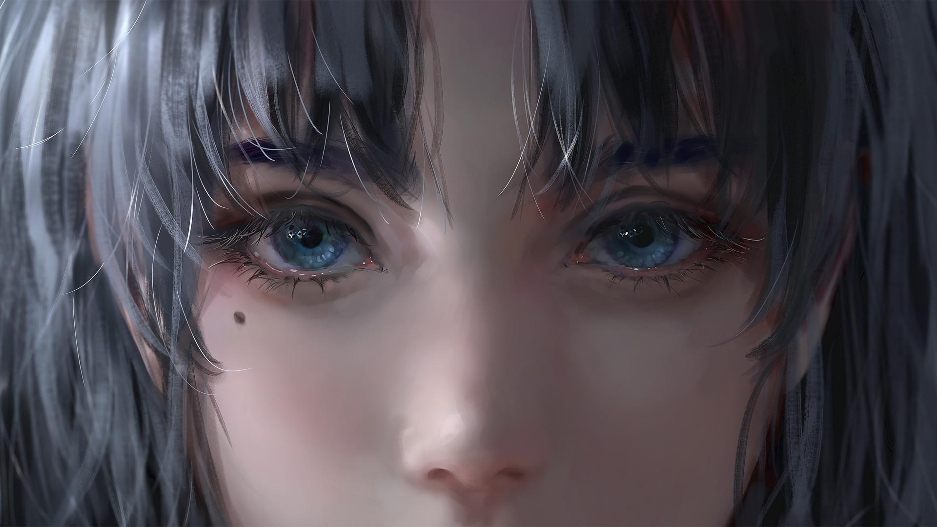 General 1920x1080 picture eyes digital painting gray hair blue eyes digital art face women