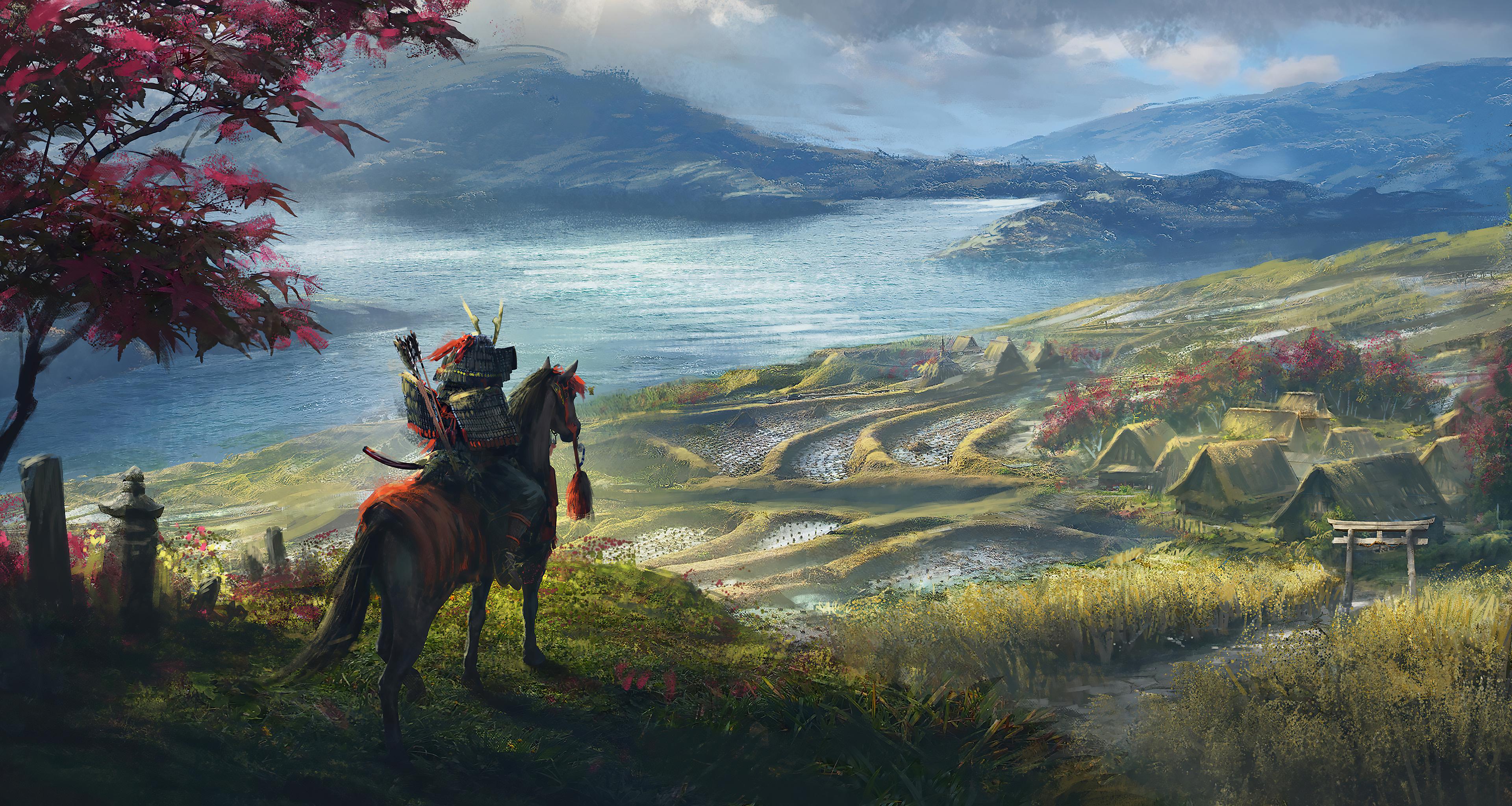 General 3840x2048 artwork fantasy art samurai nature landscape rice fields village