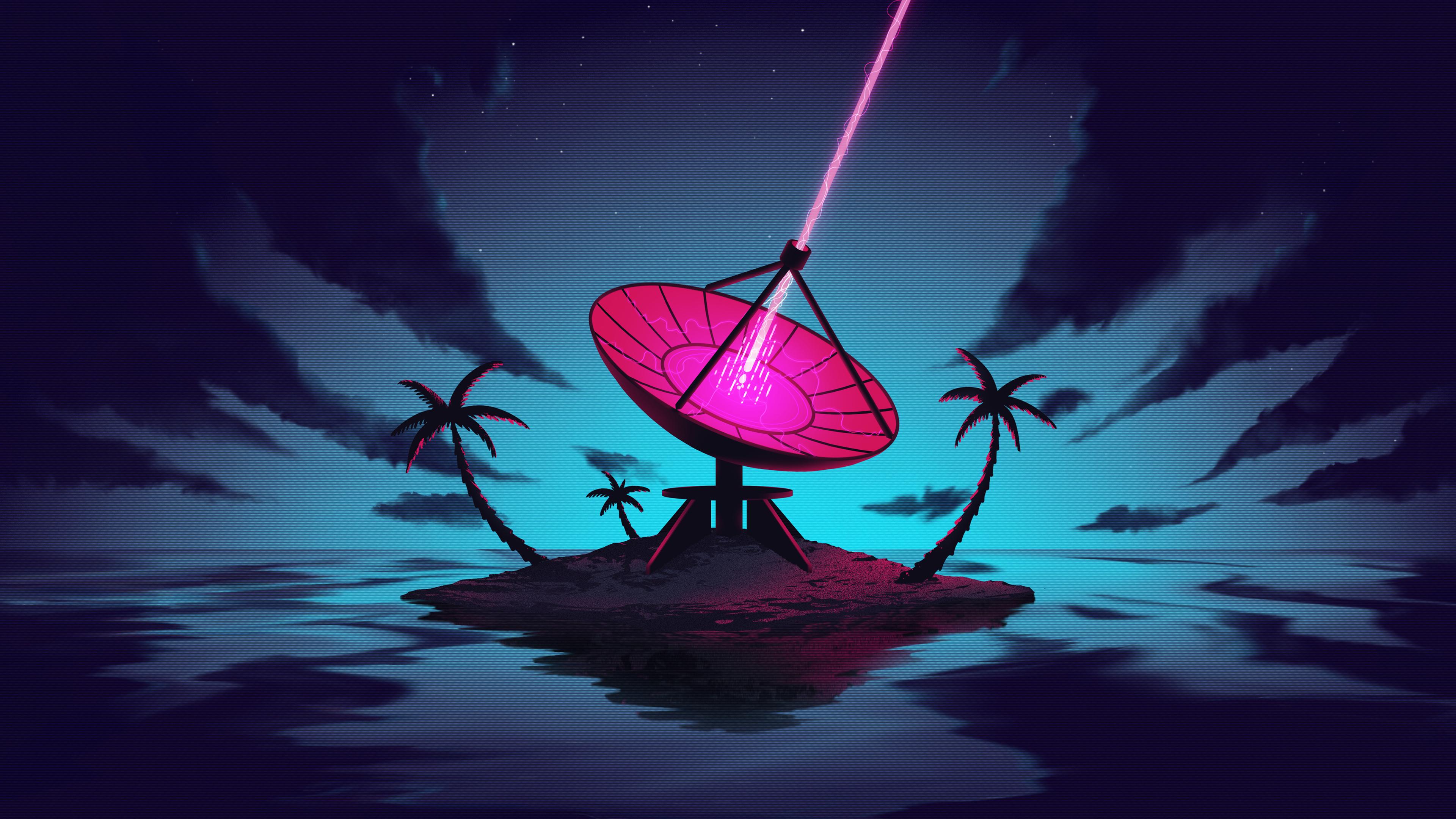 General 3840x2160 digital digital art artwork illustration trees palm trees laser antenna island 4K