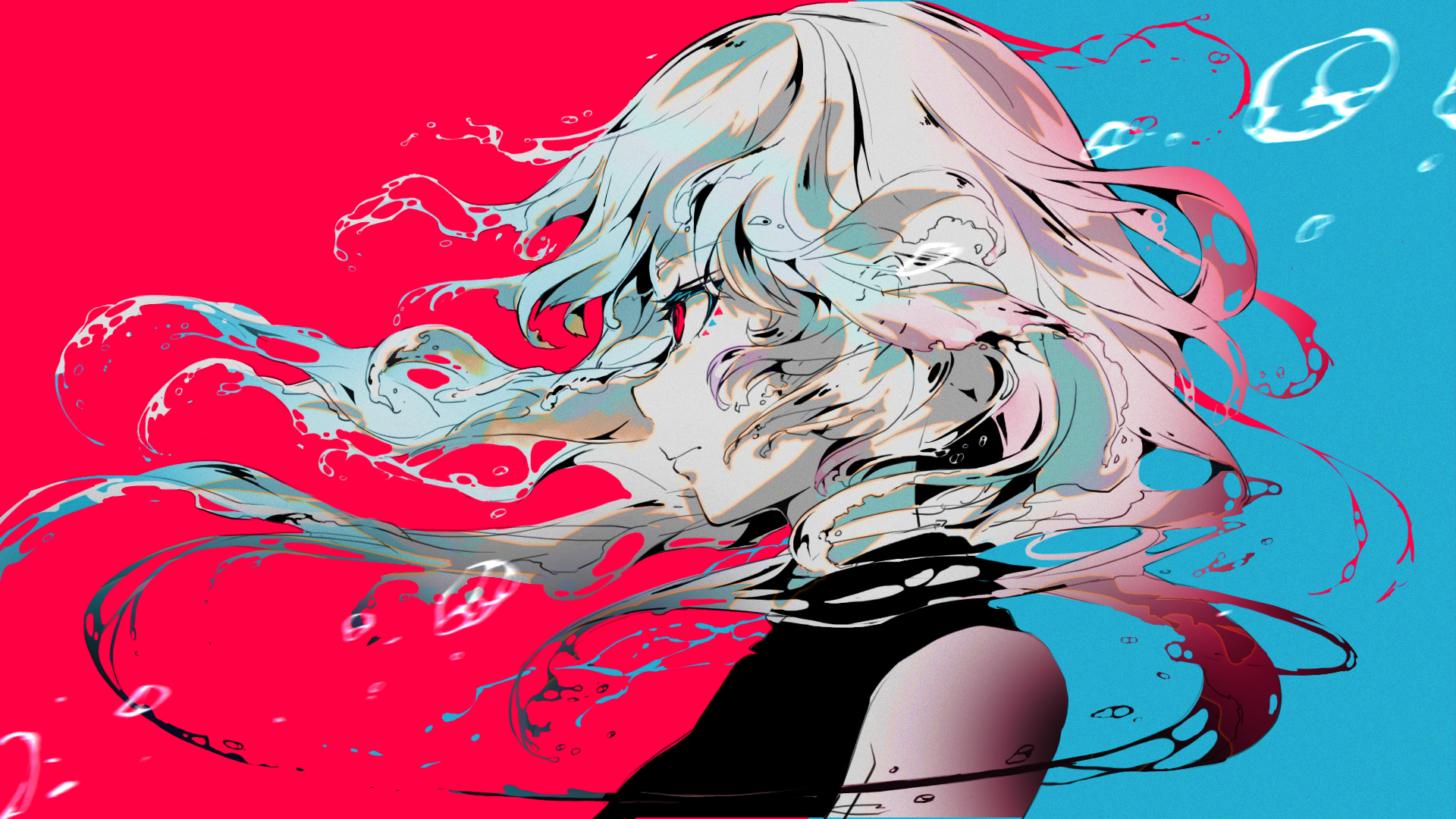 Anime 1920x1080 red eyes blue hair red blue anime anime girls face profile original characters white hair redhead multi-colored hair simple background pale black shirt bare shoulders 2D artwork Sanamisa