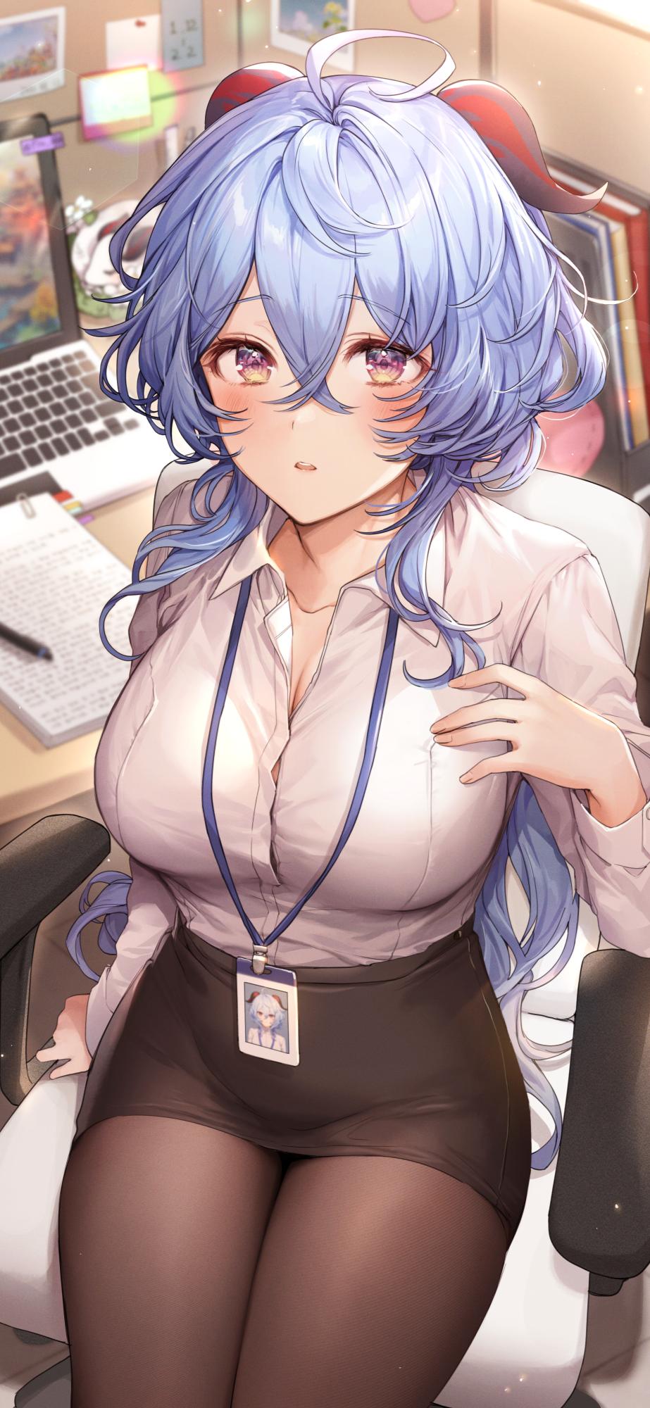 Anime 923x2000 anime girls anime Pillo artwork Genshin Impact Ganyu (Genshin Impact) horns blue hair office girl pantyhose big boobs women