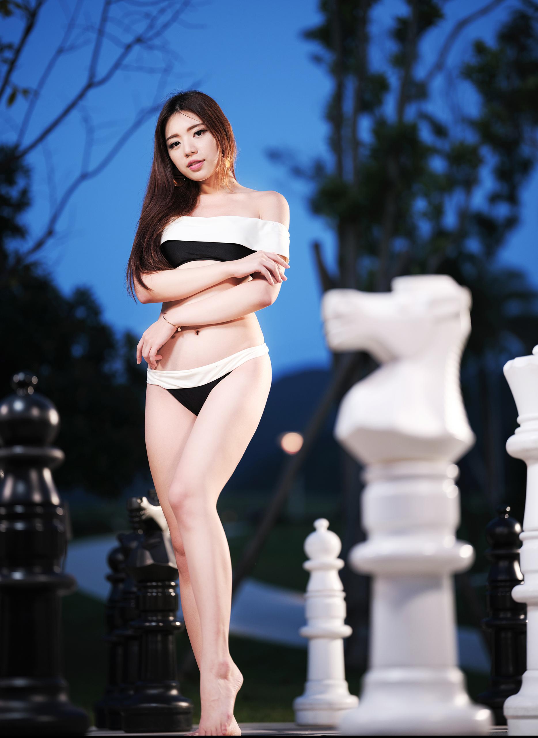 People 1868x2560 Kiki Hsieh model women Asian brunette long hair bikini bandeau top legs barefoot chess arms crossed portrait display women outdoors