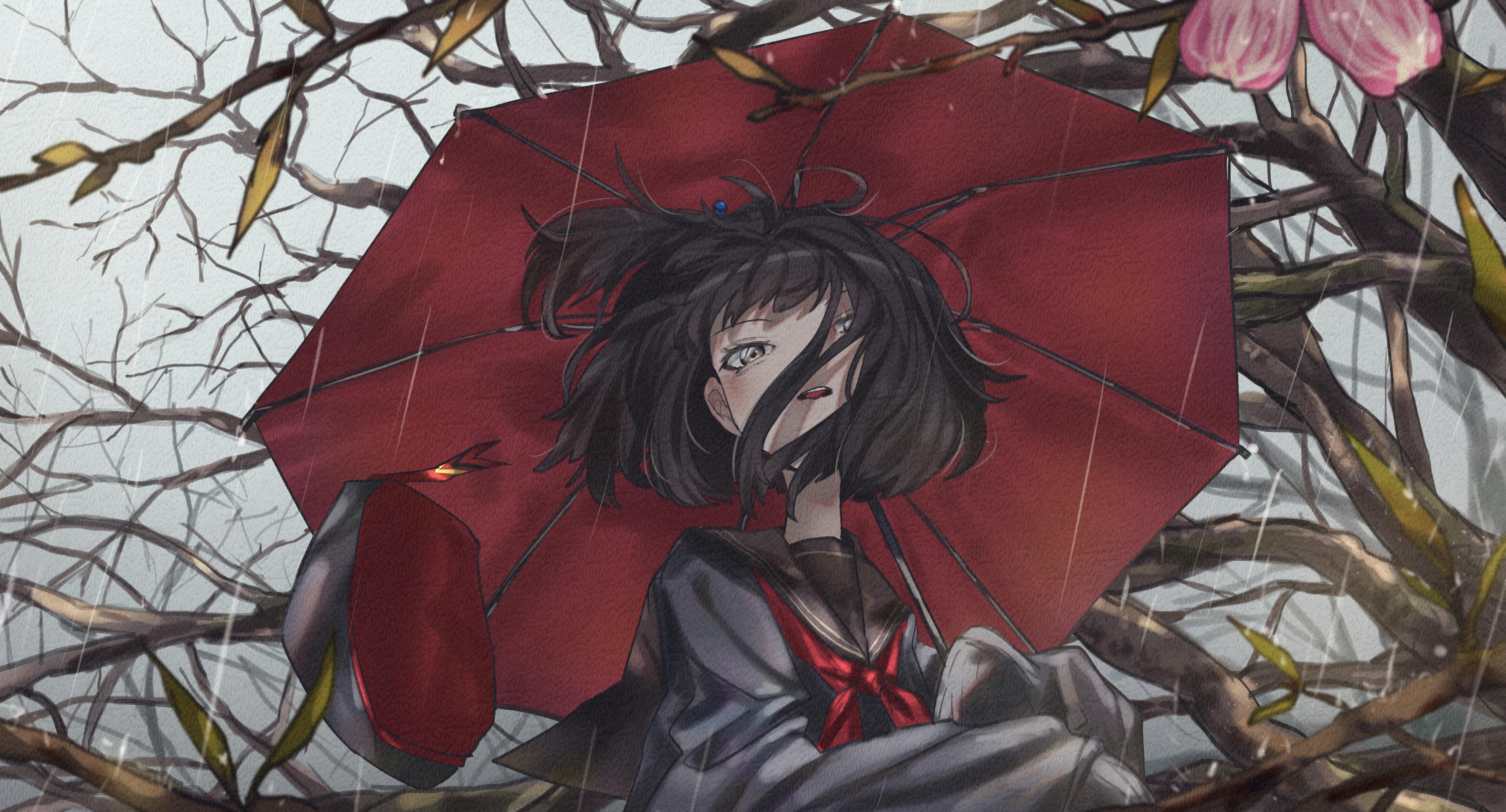 Anime 3833x2068 anime anime girls umbrella rain black hair short hair yellow eyes sailor uniform trees berets spring looking at viewer plants Virtual Youtuber Amemori Sayo M0chi0000