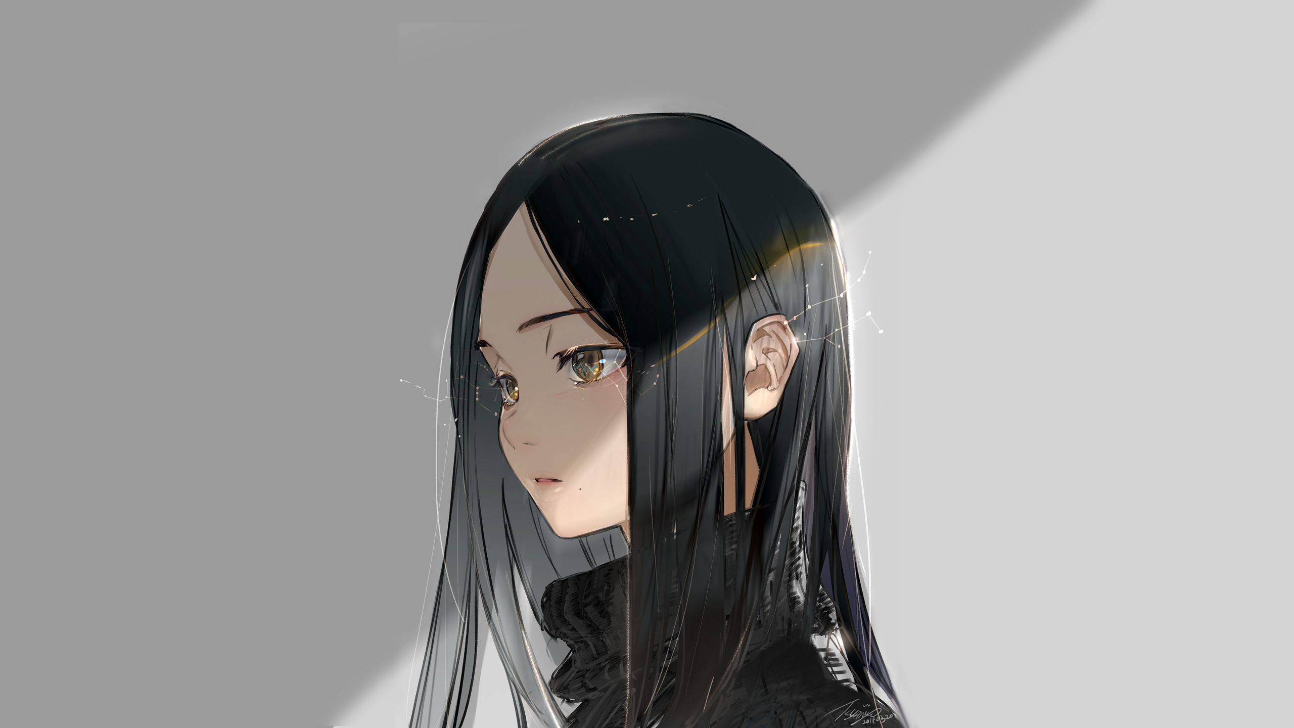 Anime 2560x1440 anime anime girls yellow eyes black hair long hair stars looking away white background light effects sweater