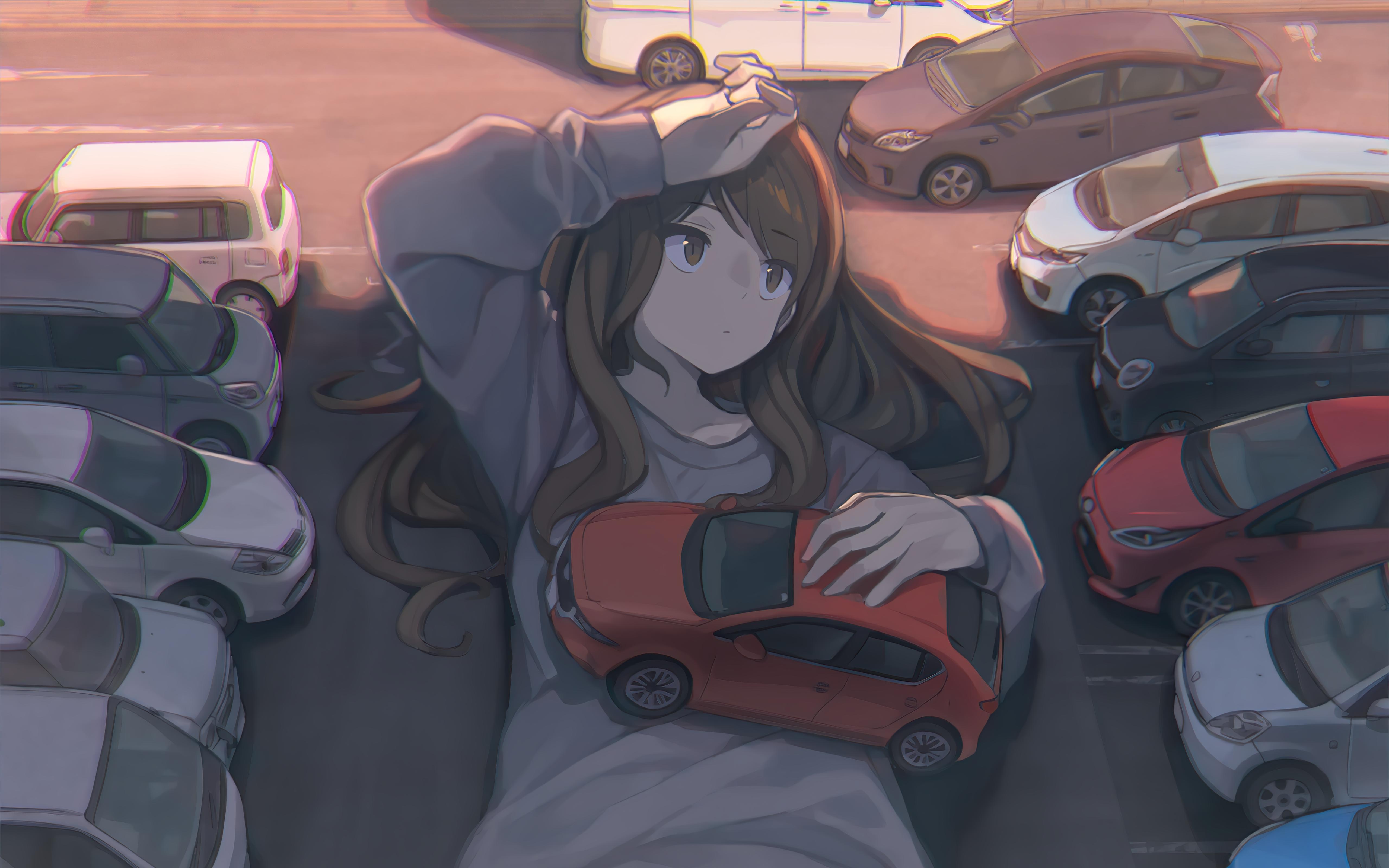 Anime 5120x3200 anime anime girls brunette long hair brown eyes looking away car parking sunlight giantess Tomioka Jirou