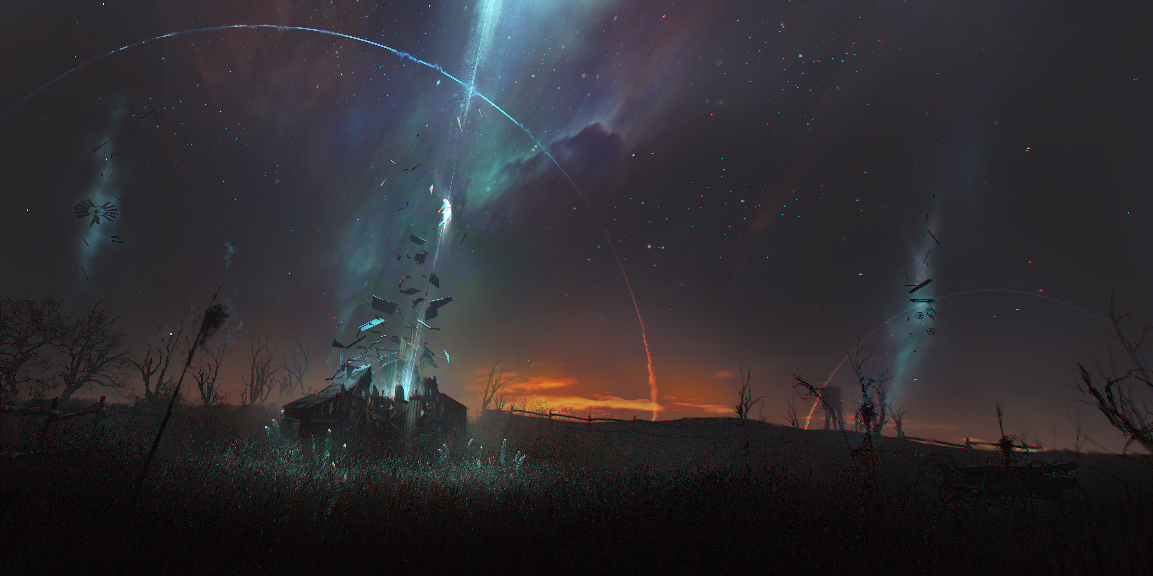 General 3840x1920 David Metzger digital art fantasy art windmill alien abduction stars space sunset aurorae field