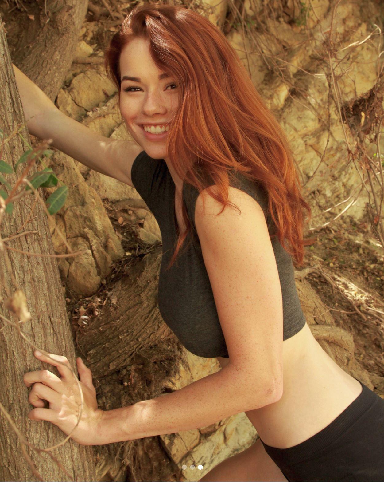 People 1251x1568 women model redhead long hair Sabrina Lynn freckles portrait display smiling women outdoors trees sportswear branch