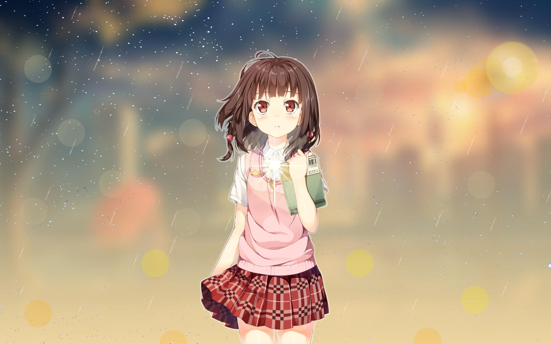 Anime 1920x1200 anime anime girls anime sky anime vectors cartoon Japan fan art Photoshop brunette miniskirt loli