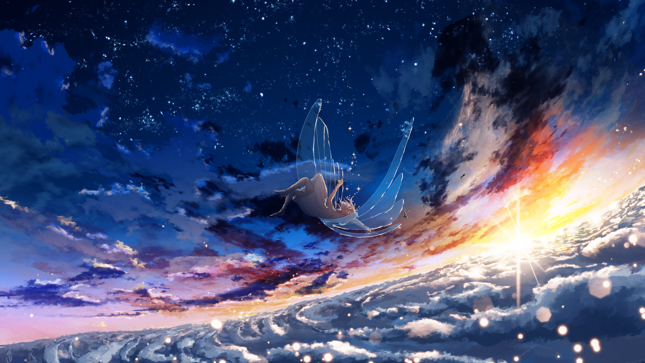 Anime 2560x1440 anime anime girls sky clouds sunlight blue wings