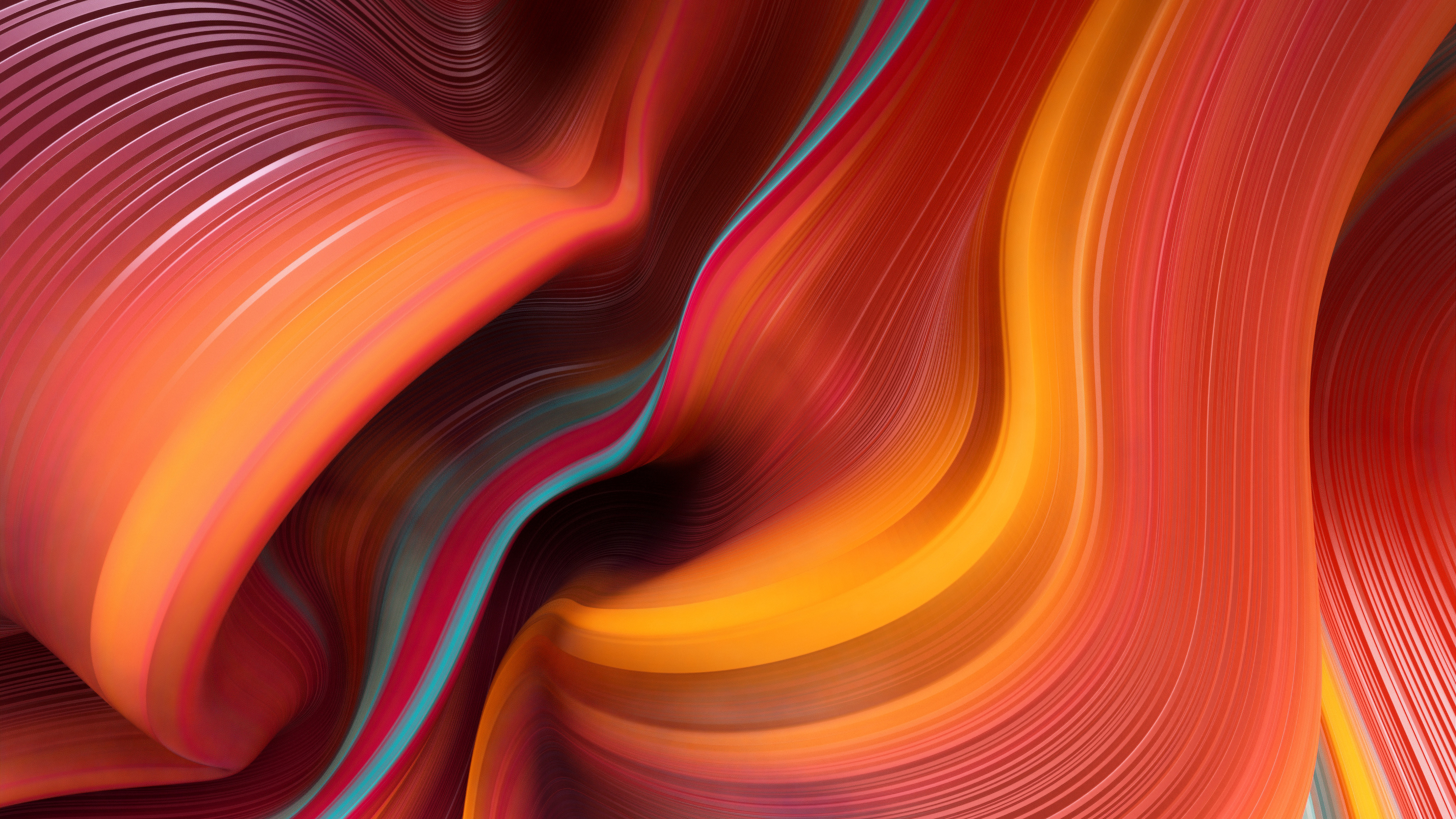 General 3840x2160 digital digital art artwork illustration abstract 3D Abstract lines curved Photoshop Adobe Illustrator colorful pattern texture 3D yellow cyan red orange gradient