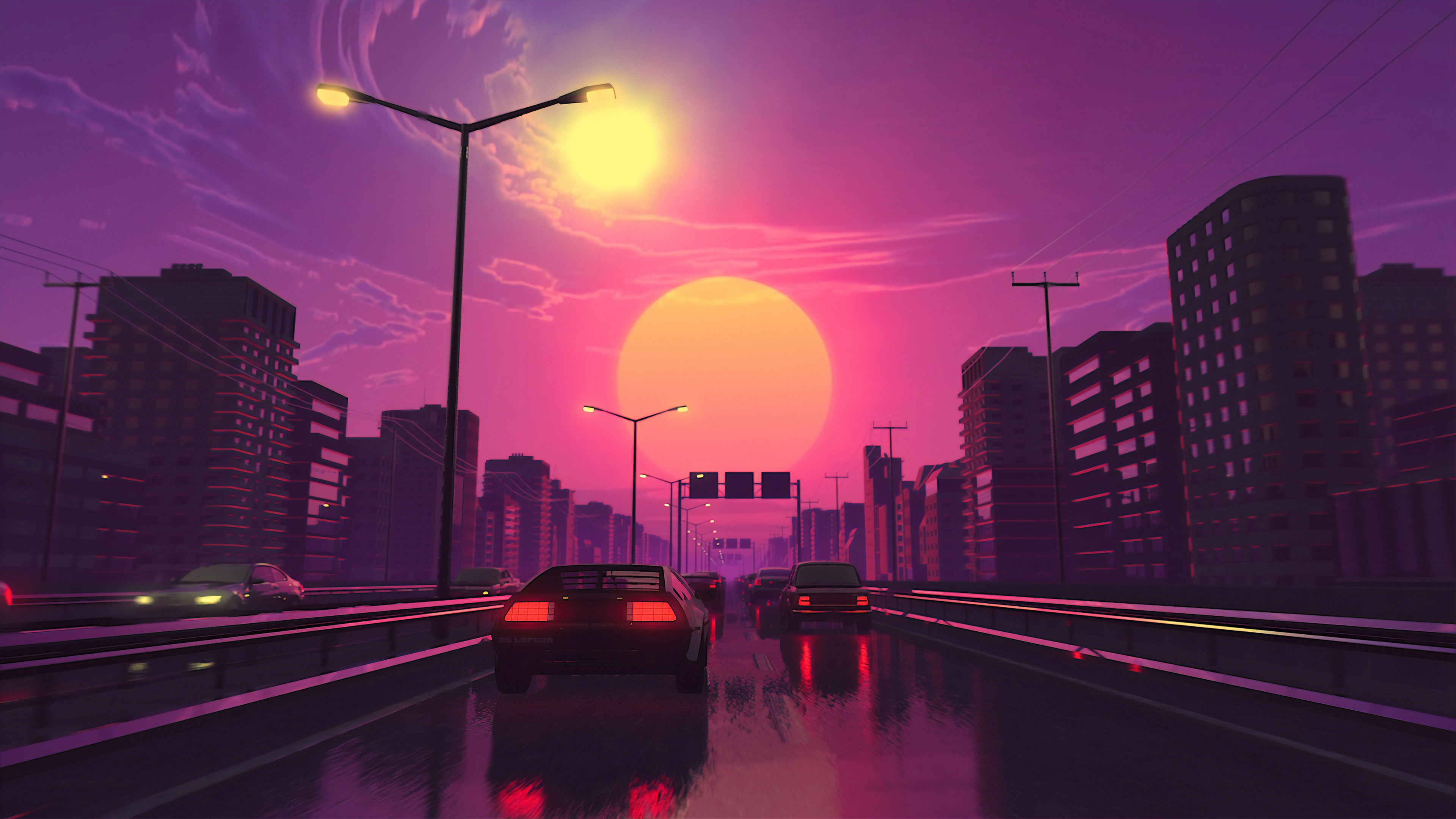 General 3840x2160 digital digital art artwork city lights street car vehicle transport synthwave street light urban modern landscape cityscape architecture building vaporwave Sun dusk sunset sky skyscape cyberpunk