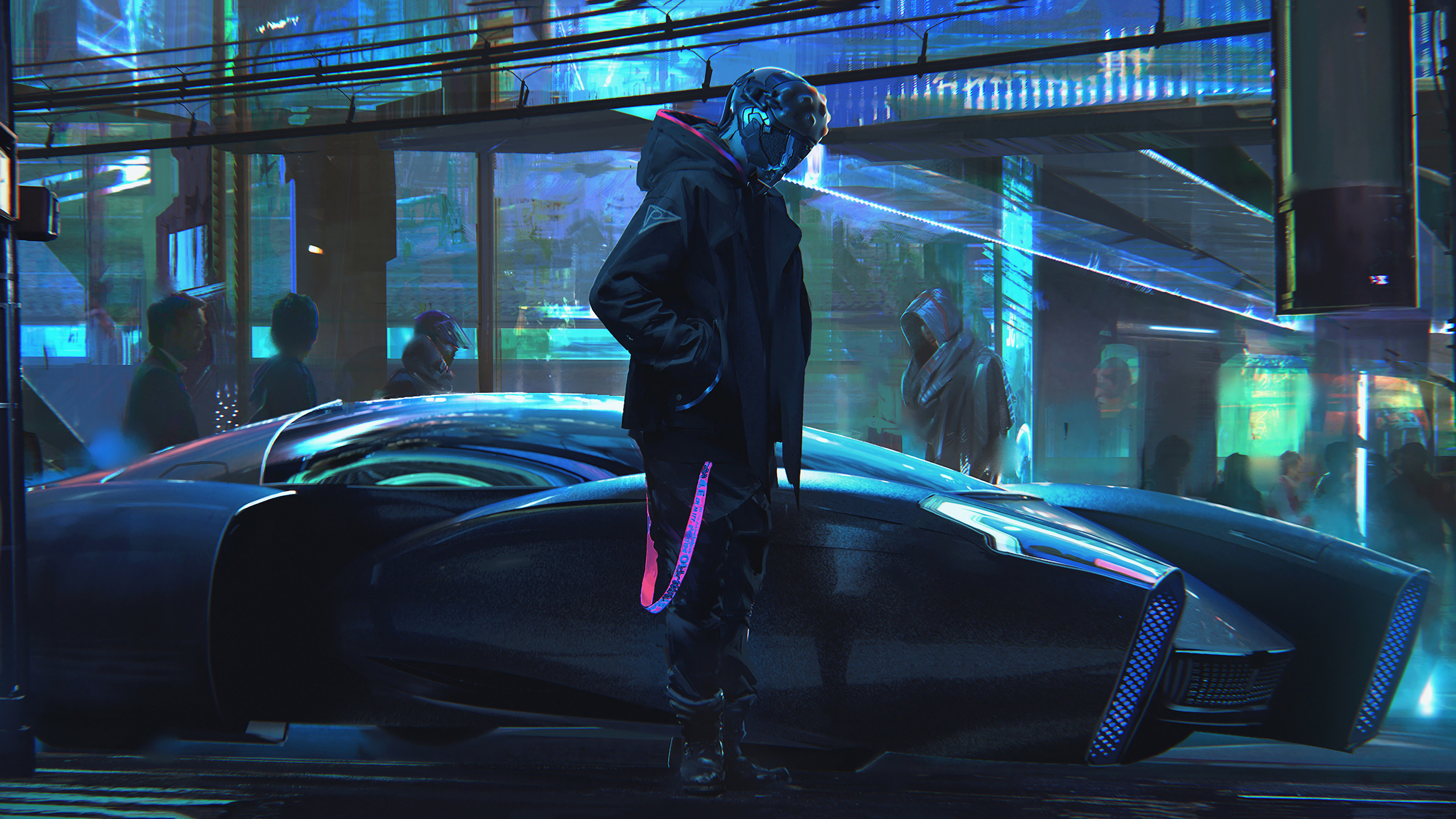 General 3840x2160 digital digital art artwork futuristic futuristic city city city lights lights car vehicle transport people concept art neon lights neon cyber cyberpunk hoods environment science fiction cyan