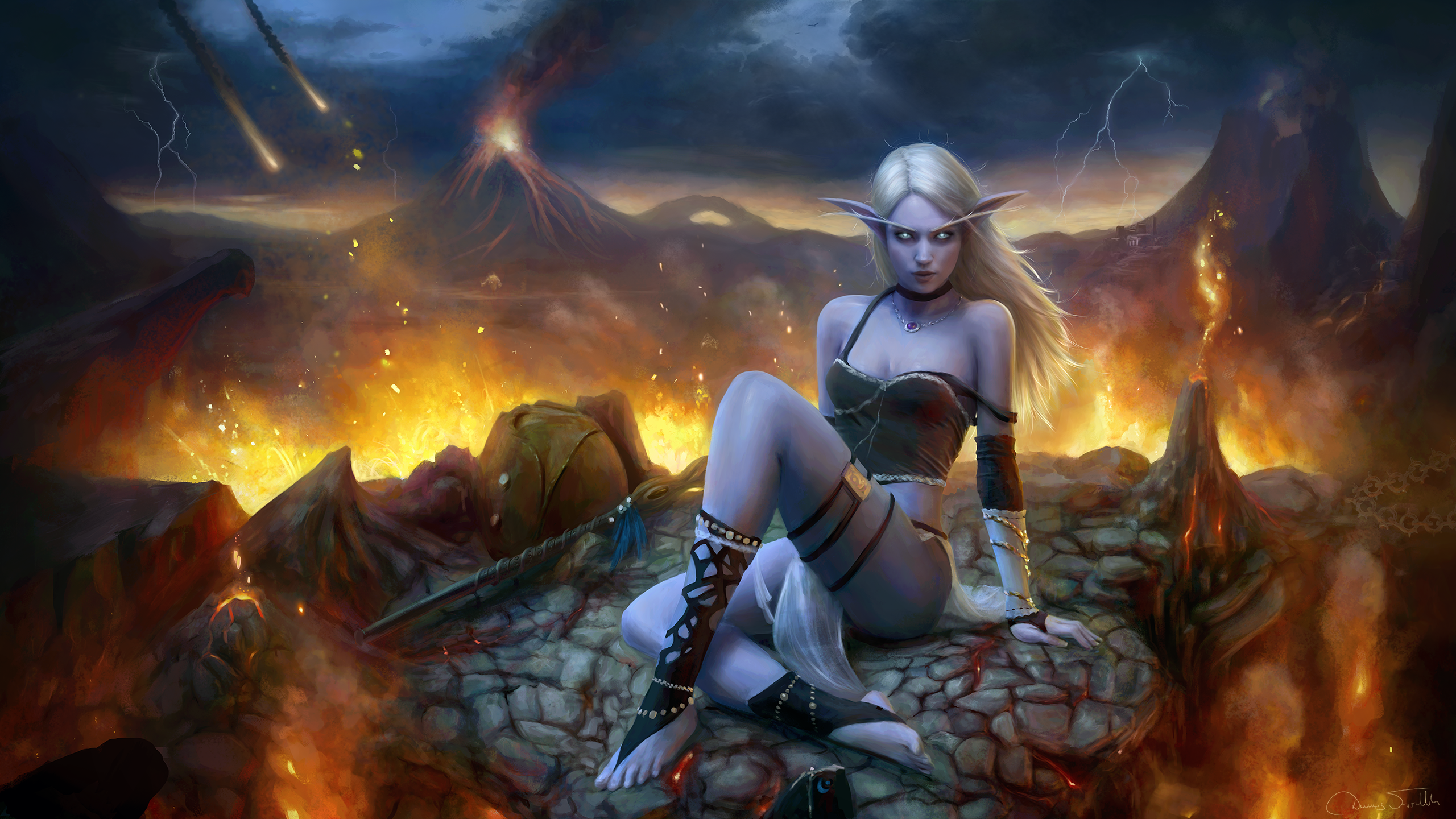 General 2560x1440 Jorsch drawing women Warcraft III: Reforged Night Elves elves silver hair long hair wind pointy ears glowing eyes frown looking at viewer choker jewelry necklace cleavage tank top straps skimpy clothes skirt fire volcano volcanic eruption burning storm lightning