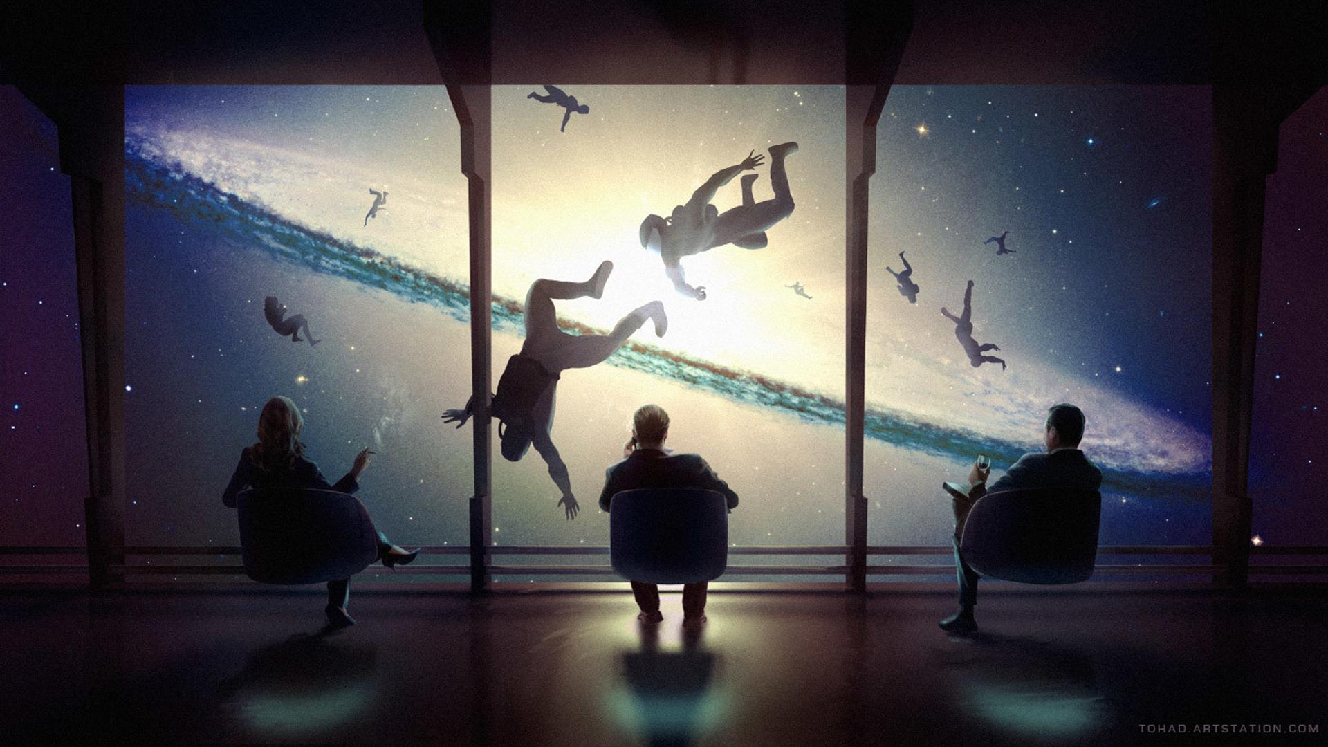 General 1920x1080 Sylvain Sarrailh artwork space death explosion sitting by the window stars digital art