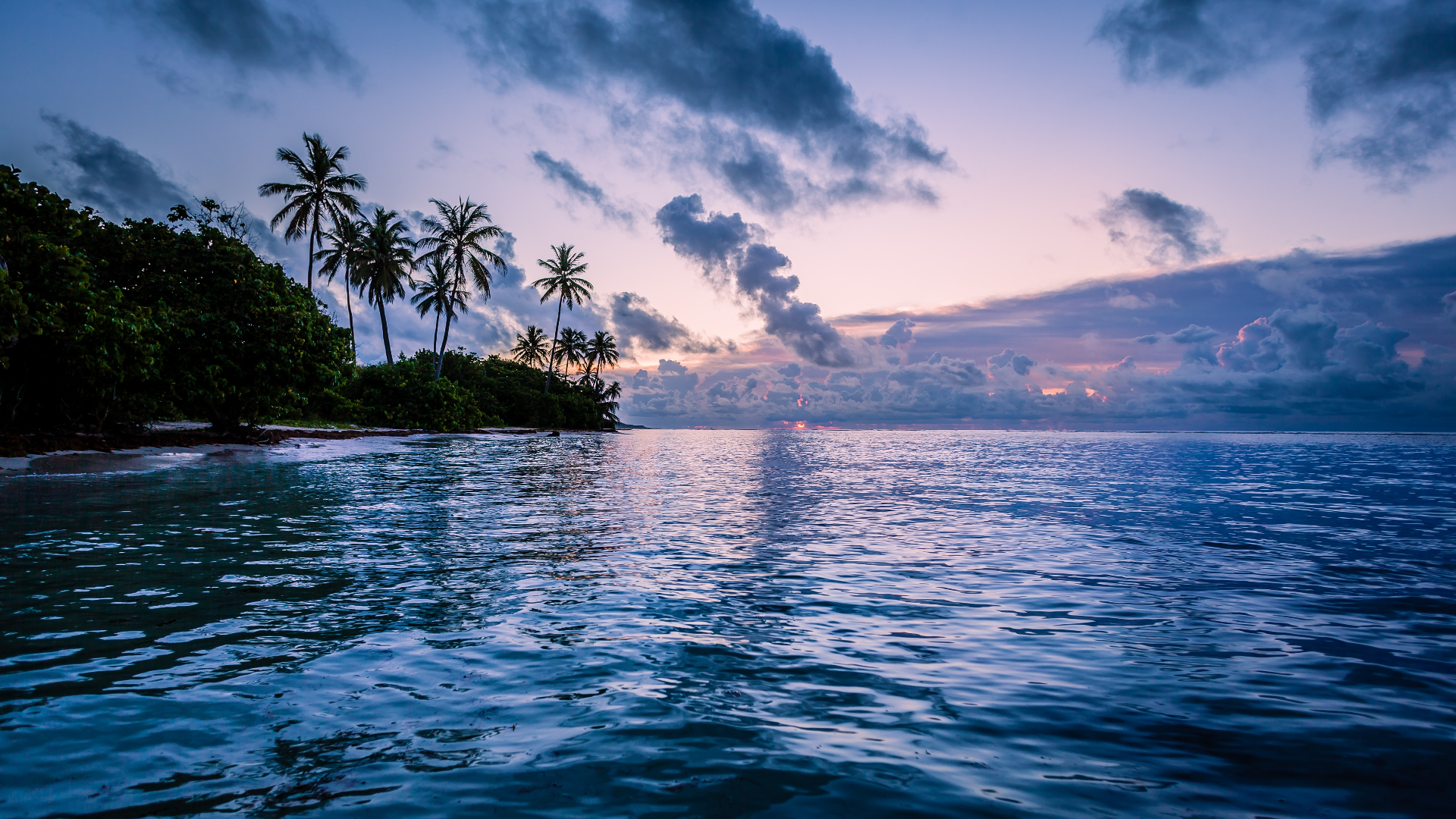 General 1920x1080 nature landscape trees clouds water beach water ripples sunset horizon palm trees Caribbean