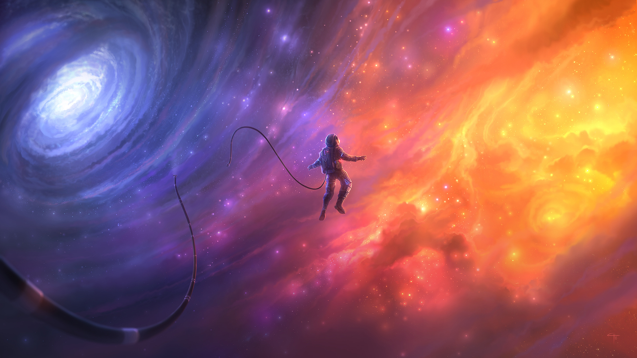 General 2222x1250 astronaut galaxy stars nebula space suit space colorful