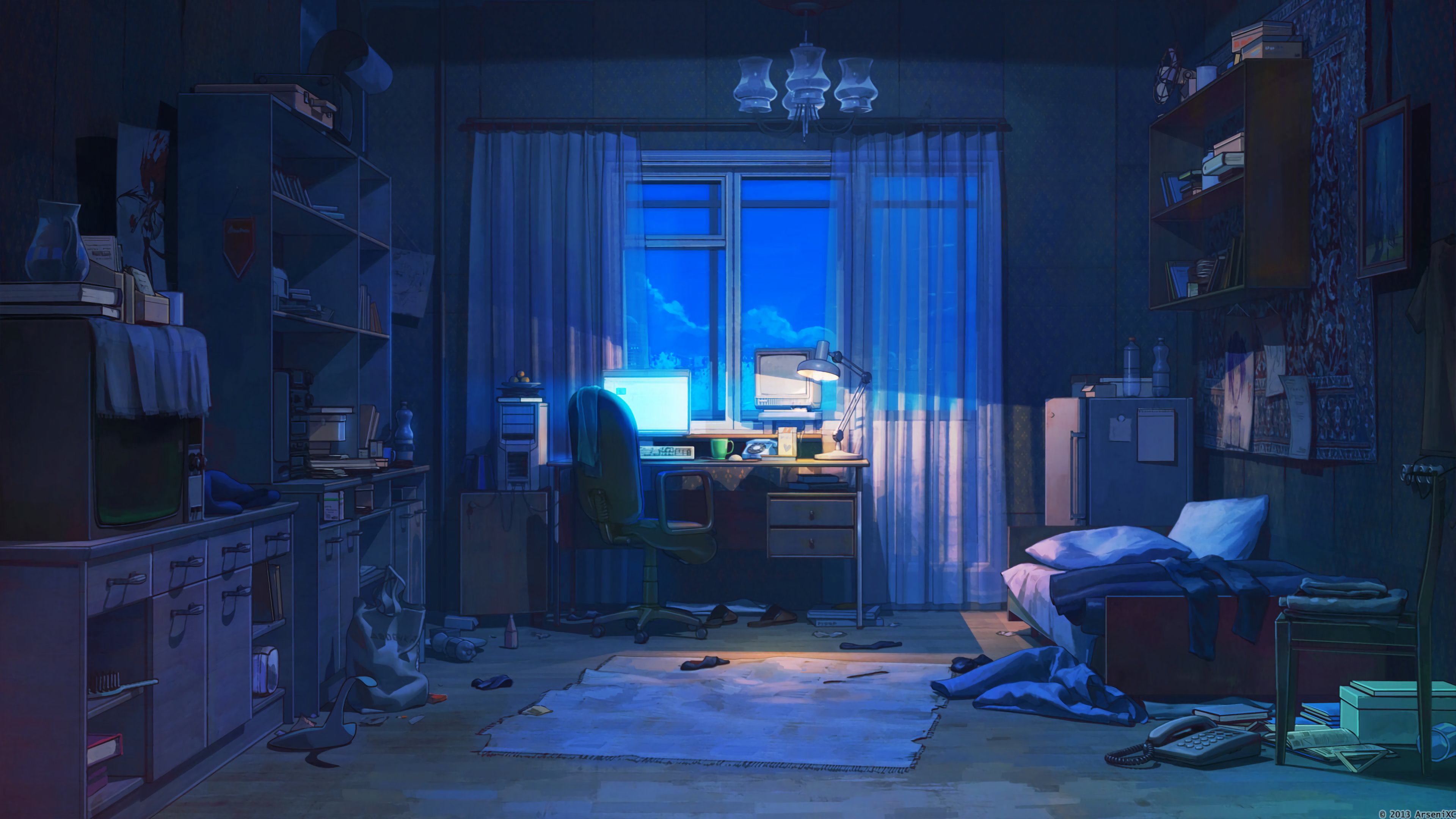 Anime 3840x2160 anime room interior dark Everlasting Summer