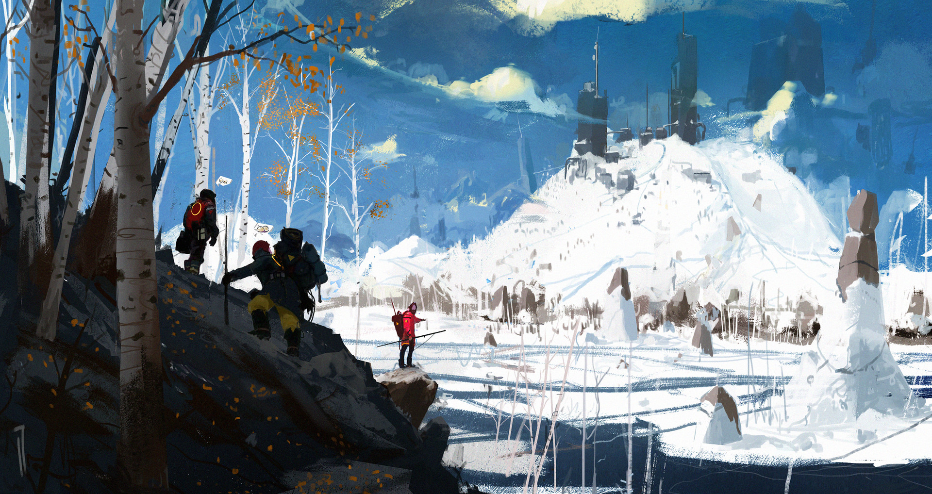 General 1920x1018 Ismail Inceoglu concept art men winter snow people lake trees clothes nature backpacks