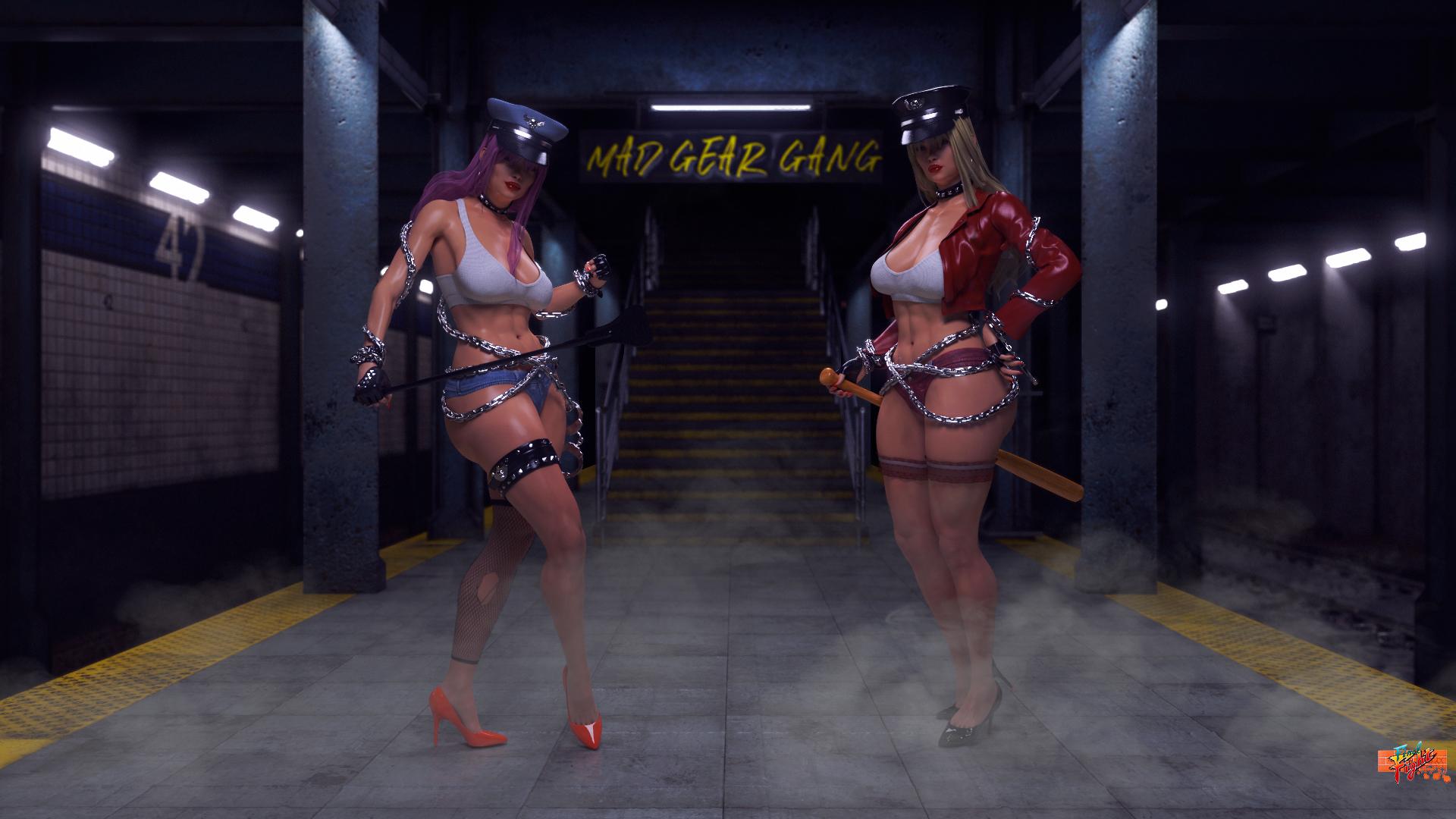 General 1920x1080 women digital art artwork cyberpunk model high heels video games Street Fighter final fight Poison (Street Fighter) Roxy depth of field CGI redhead purple hair big boobs chains whips baseball bat leather punk