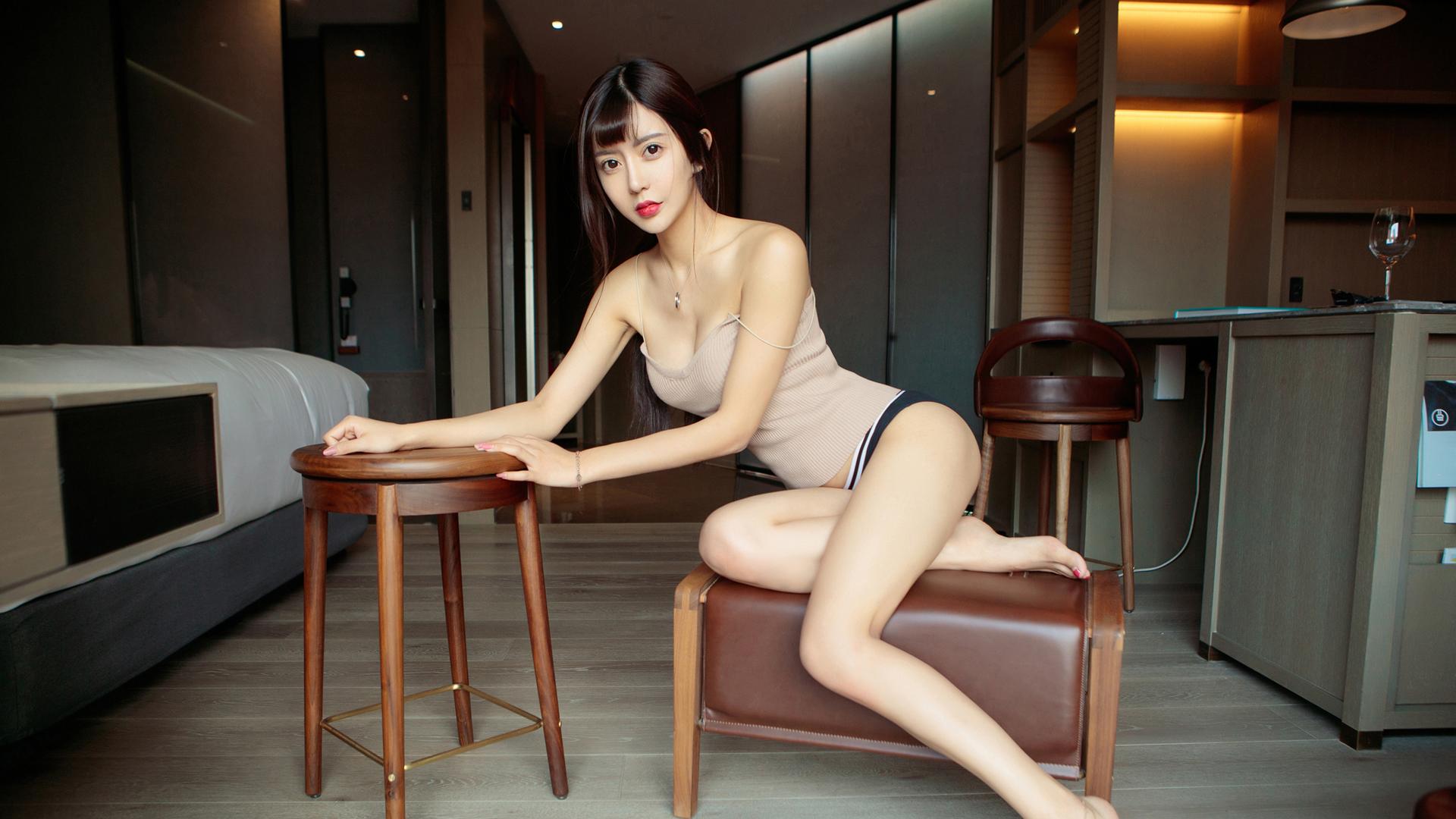 People 1920x1080 women model photography Asian Zhao Zhi Yan legs necklace women indoors chair lipstick bare shoulders