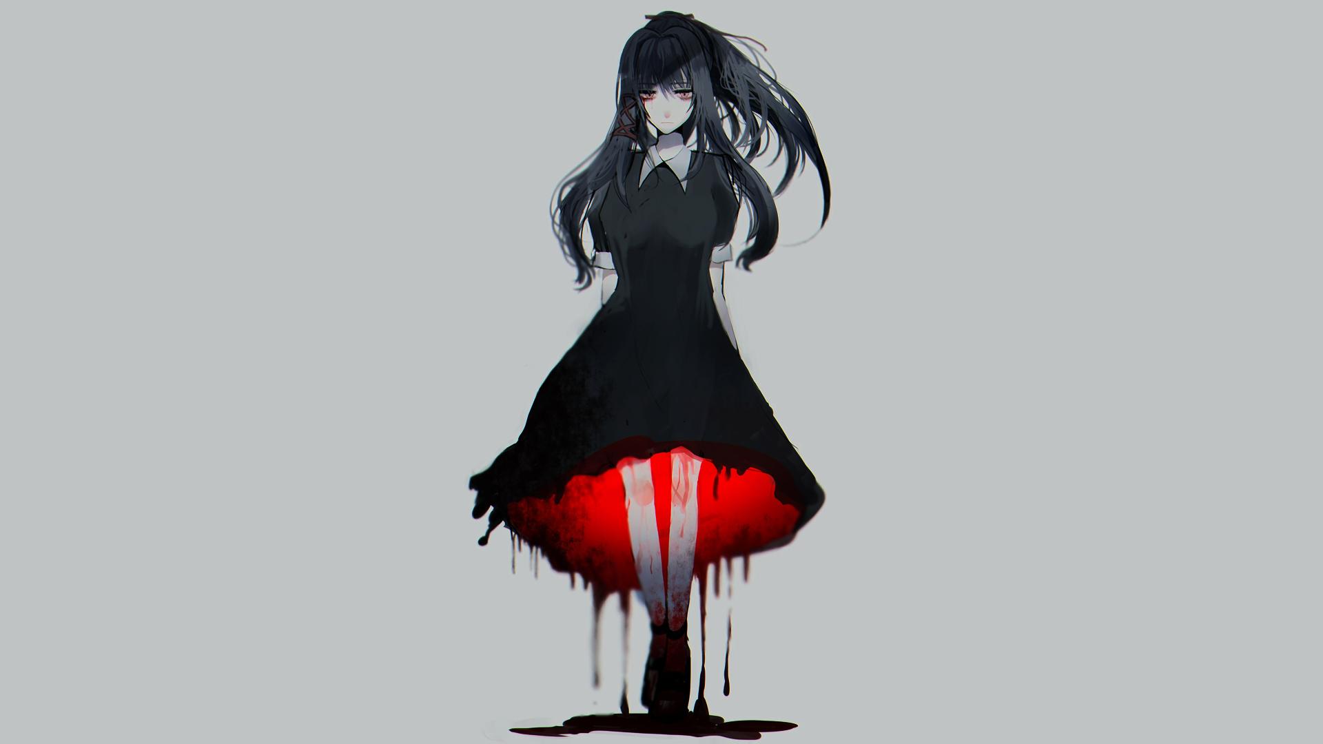 Anime 1920x1080 anime manga anime girls simple background minimalism gray blood gloomy red eyes turquoise hair