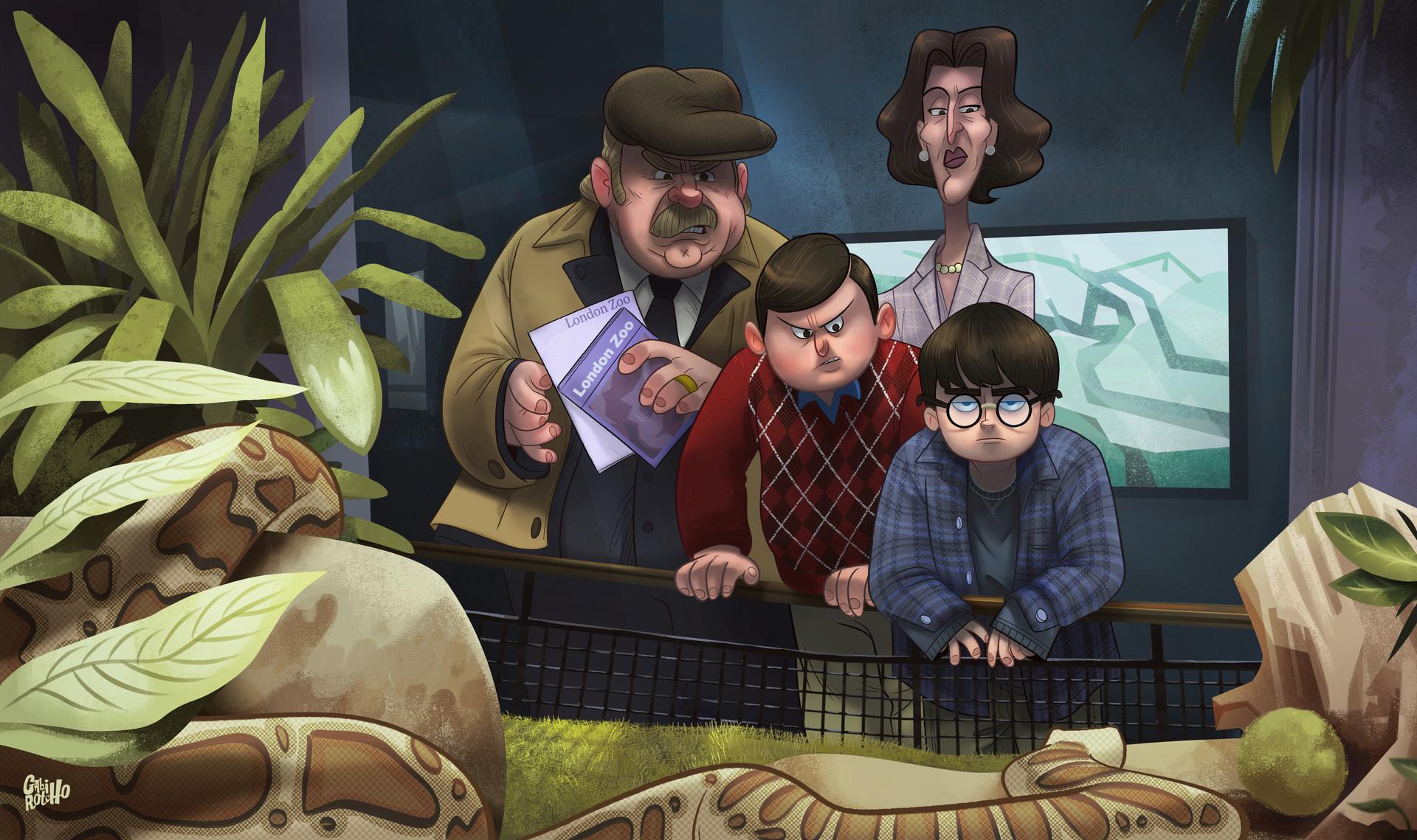 General 1920x1139 Gabirotcho  digital art fan art Zoo snake plants people men women Harry Potter