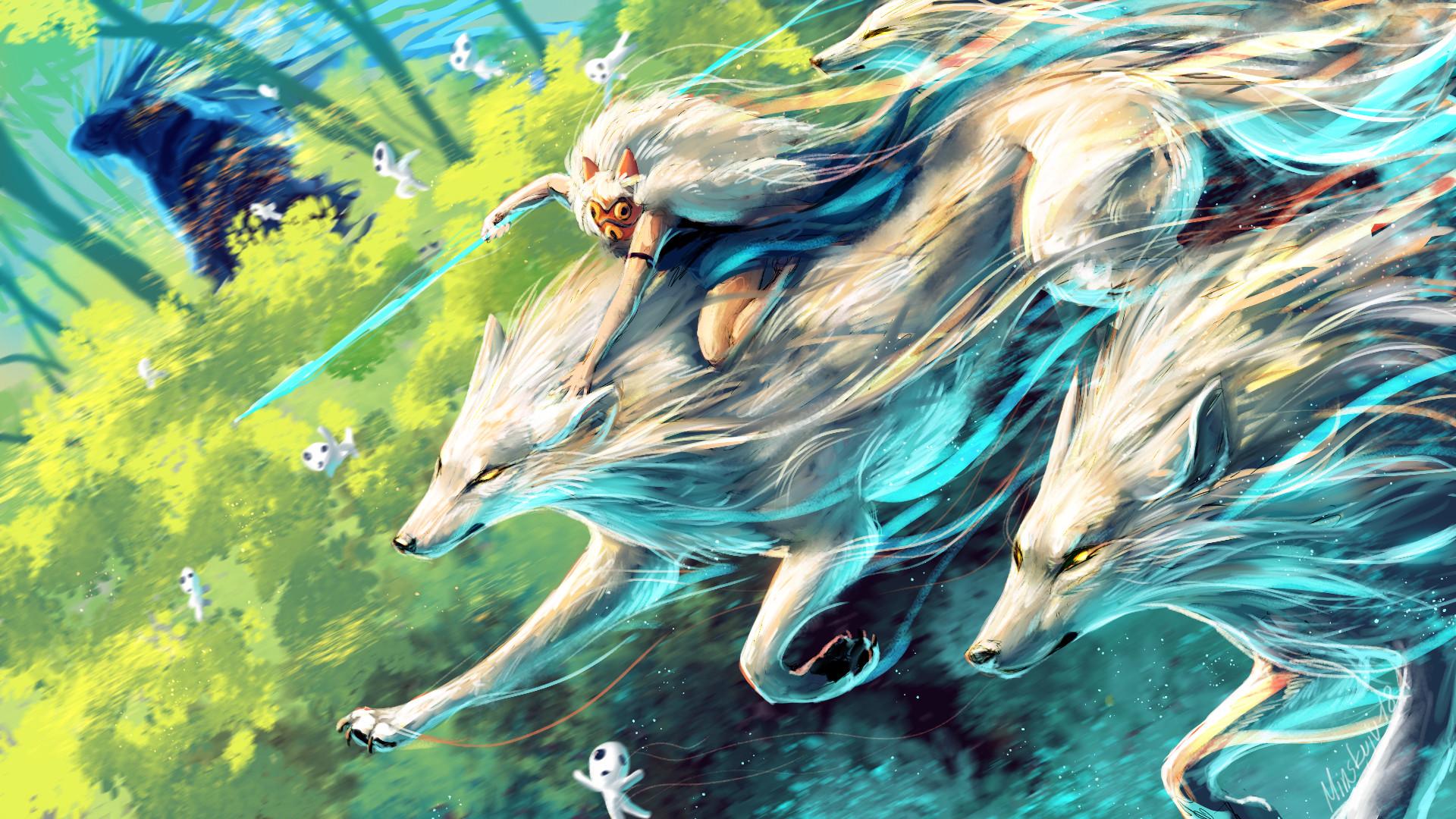 Artwork Wolf Fantasy Art Forest Princess Mononoke Studio