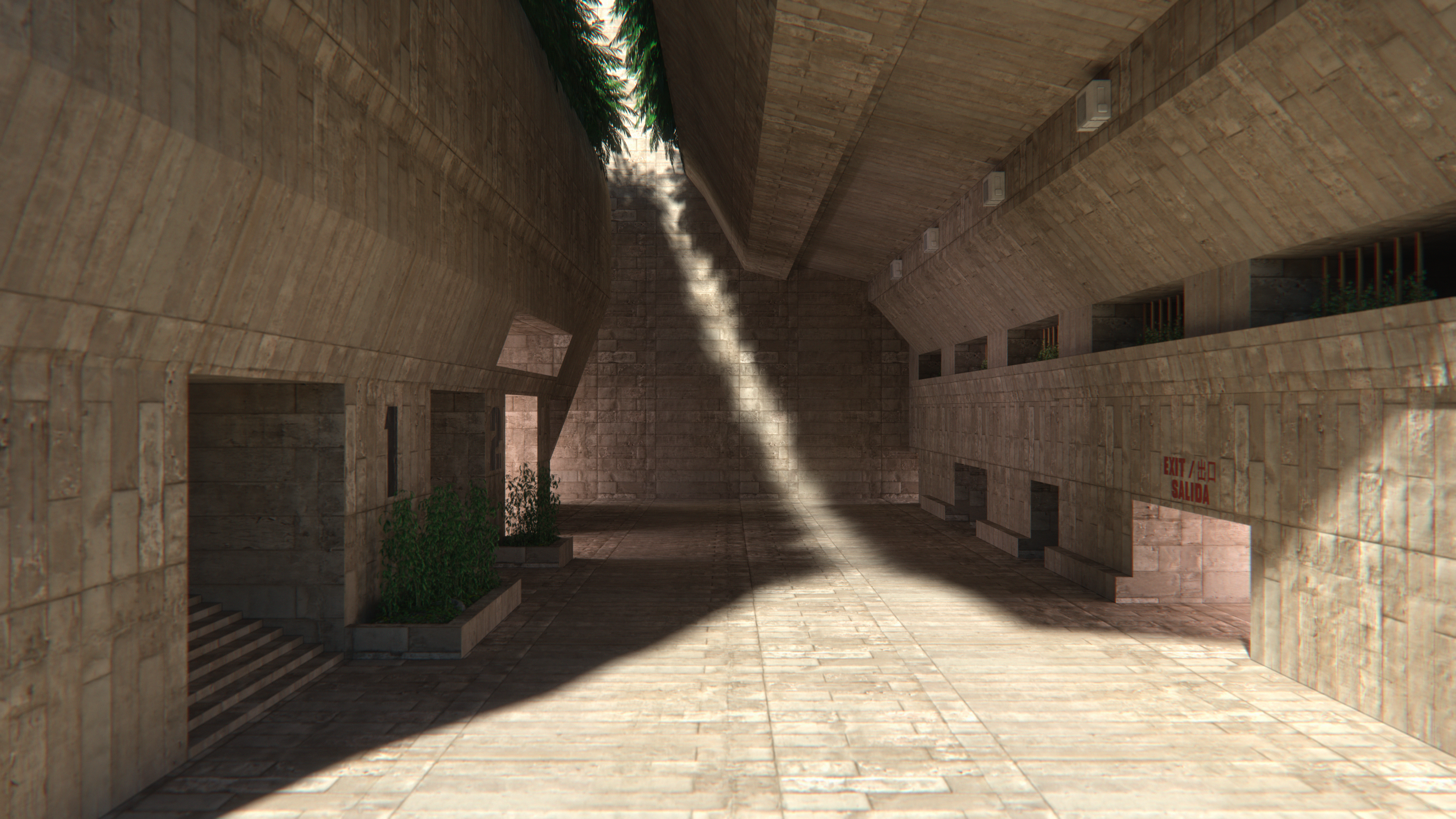 General 3840x2160 stone Brutalism architecture palm trees building shadow futuristic apartments stairs dystopian isolation empty  Blender