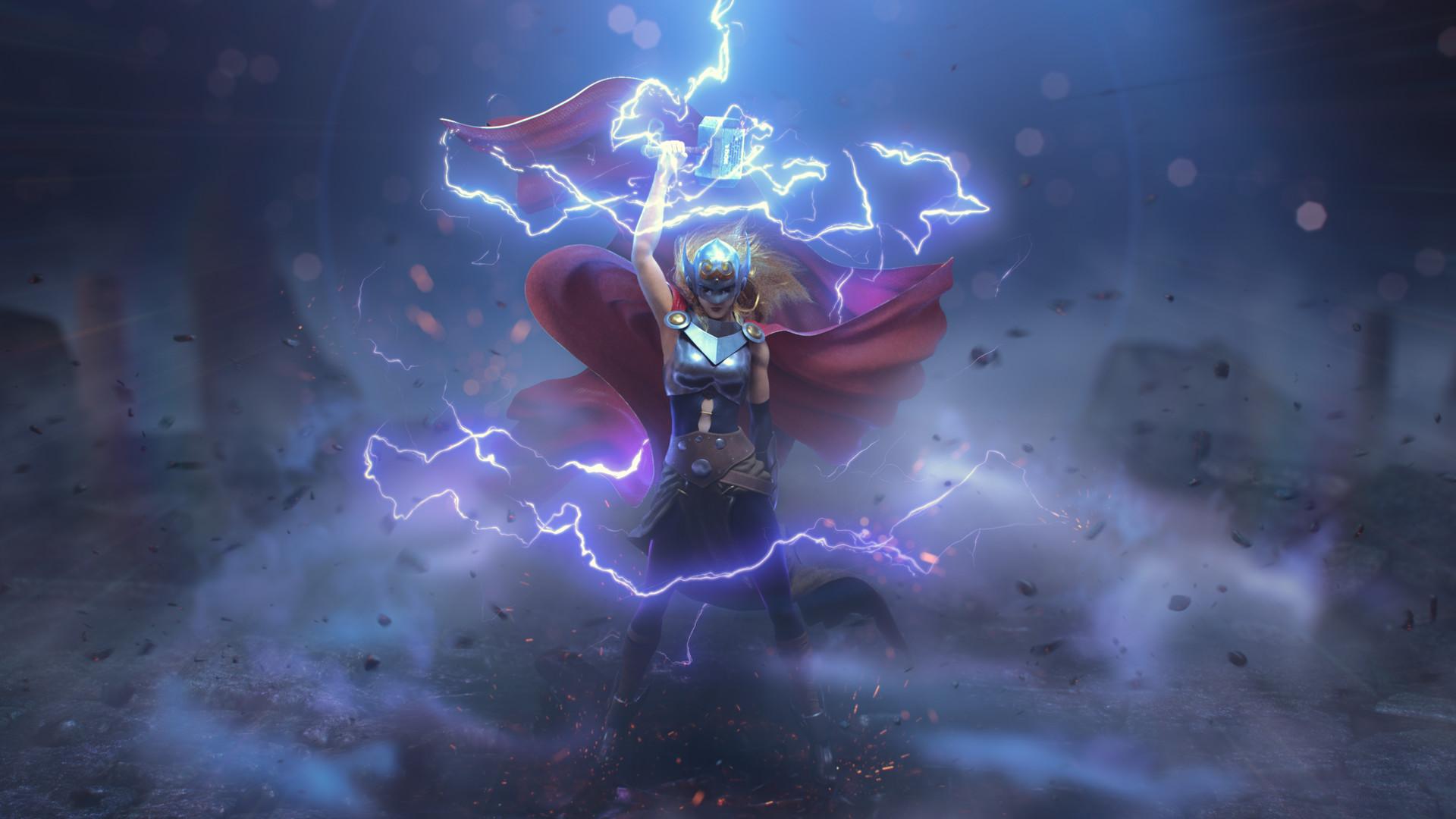 General 1920x1080 artwork fantasy art Thor lightning Mjolnir women cape mythology Norse mythology Jane Foster